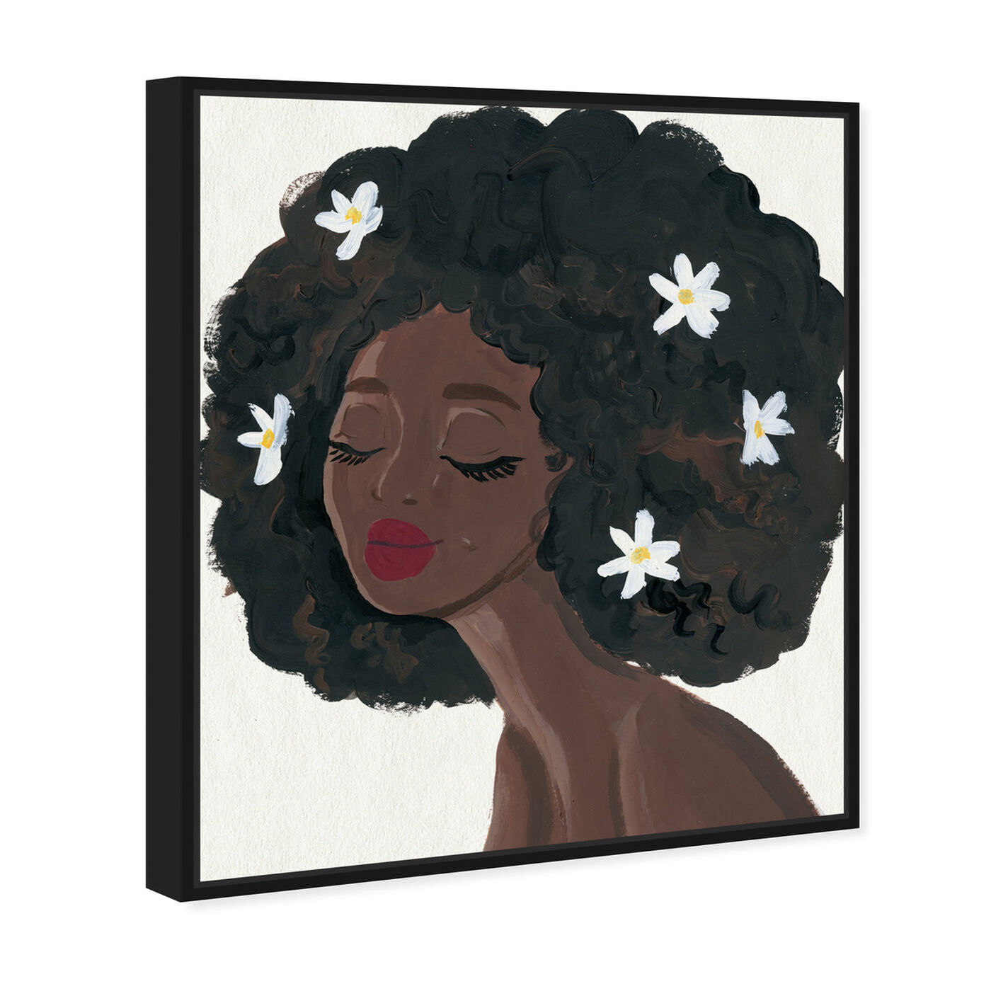 Angled view of Flowers in My Hair II featuring people and portraits and portraits art.