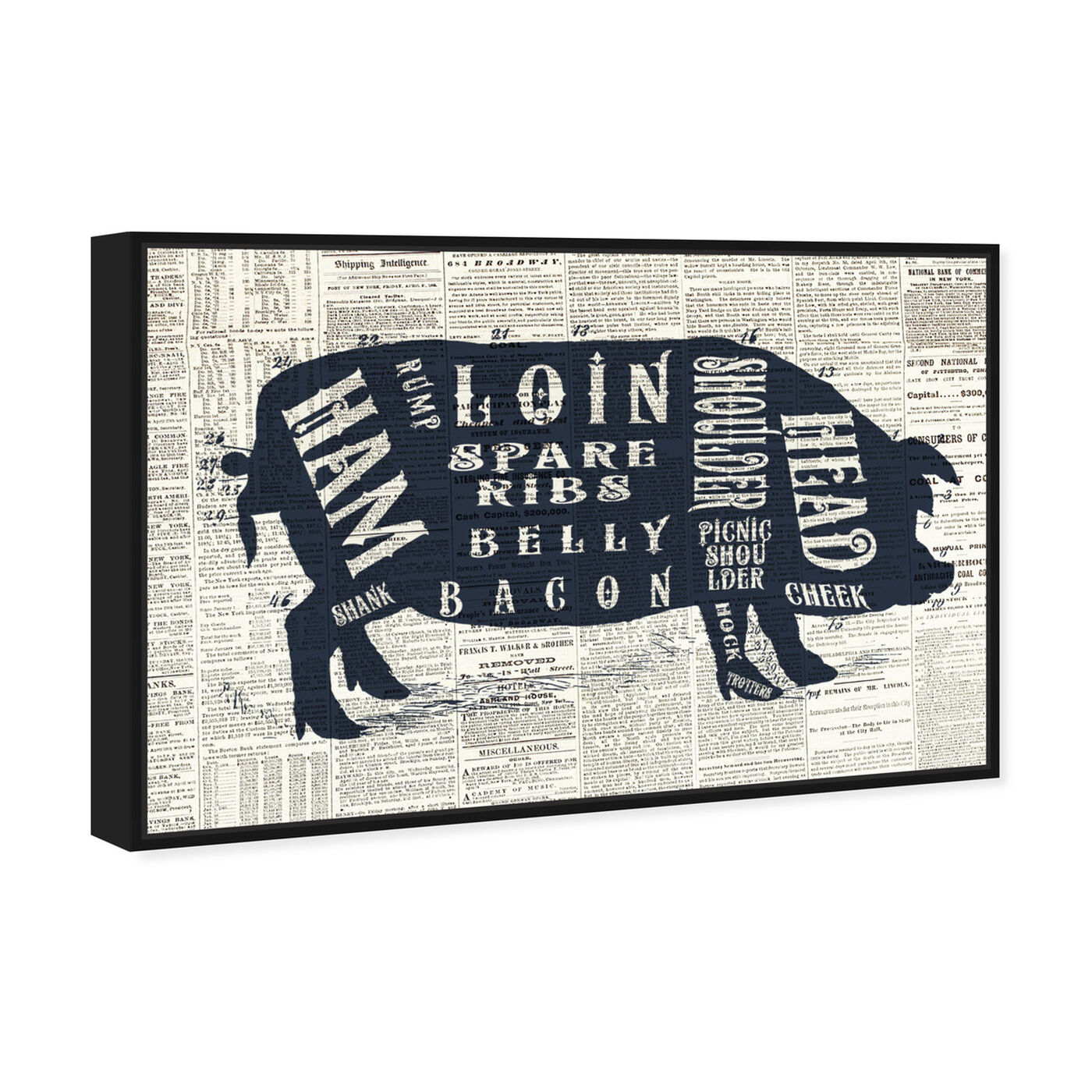 Angled view of Pork Butcher Cuts Chart featuring animals and farm animals art.