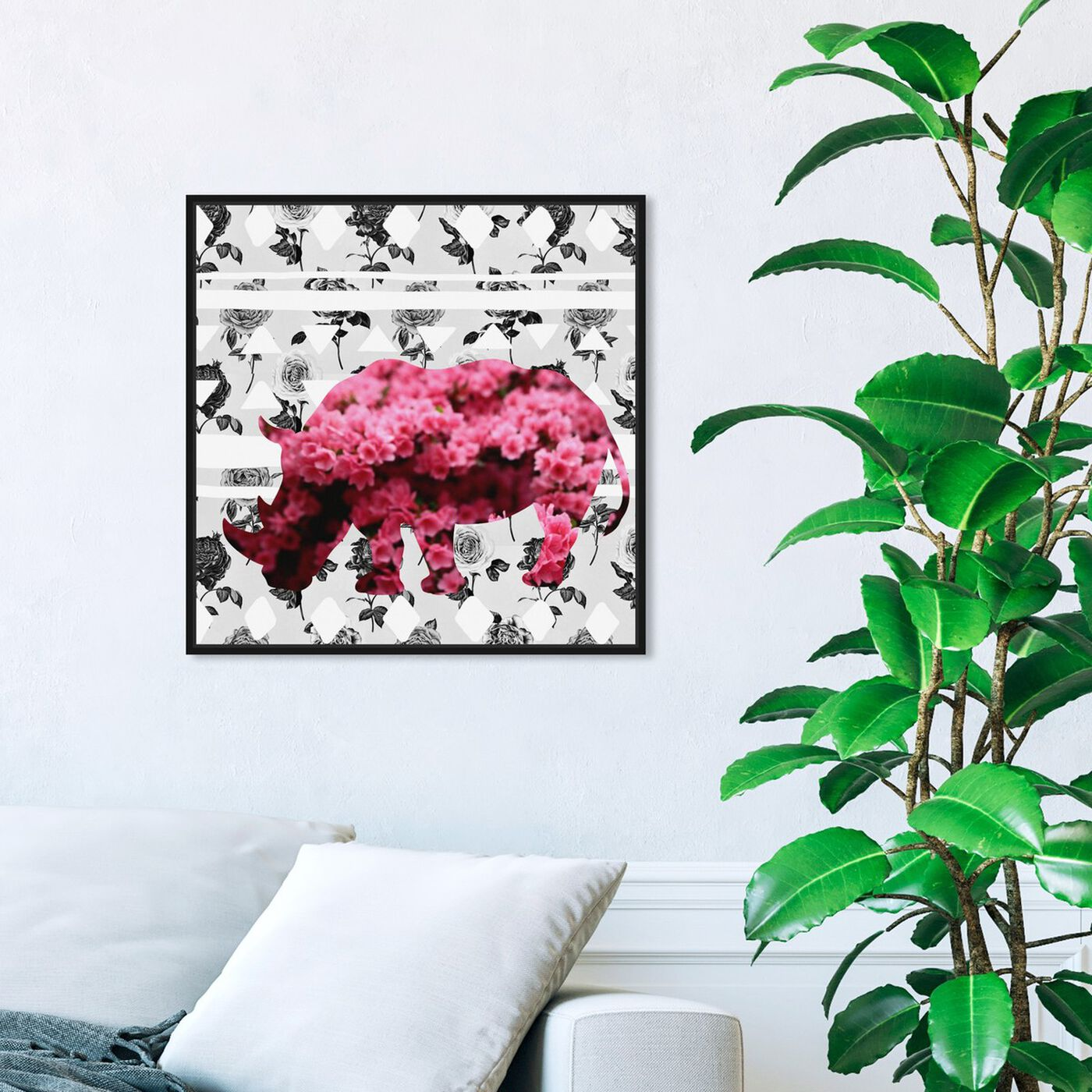Hanging view of Spring Rhino featuring animals and zoo and wild animals art.