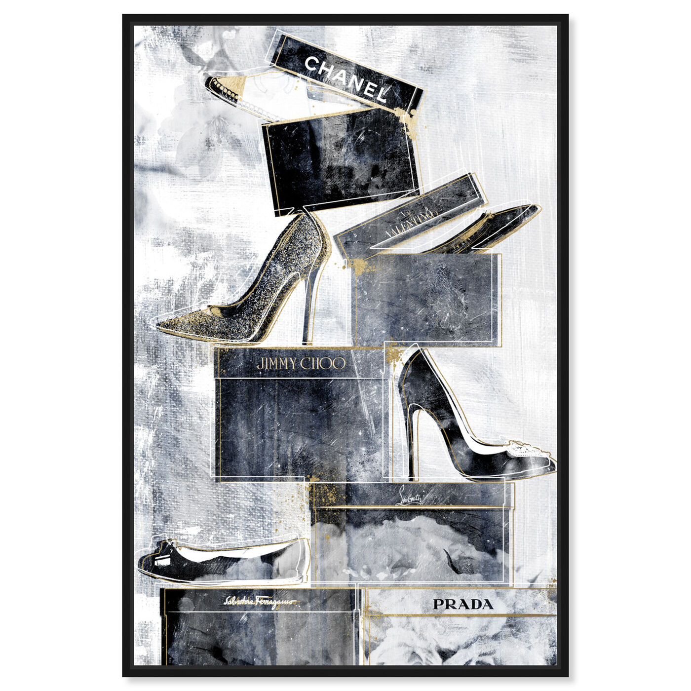 Front view of Shoes Always on My Mind Blue featuring fashion and glam and shoes art.