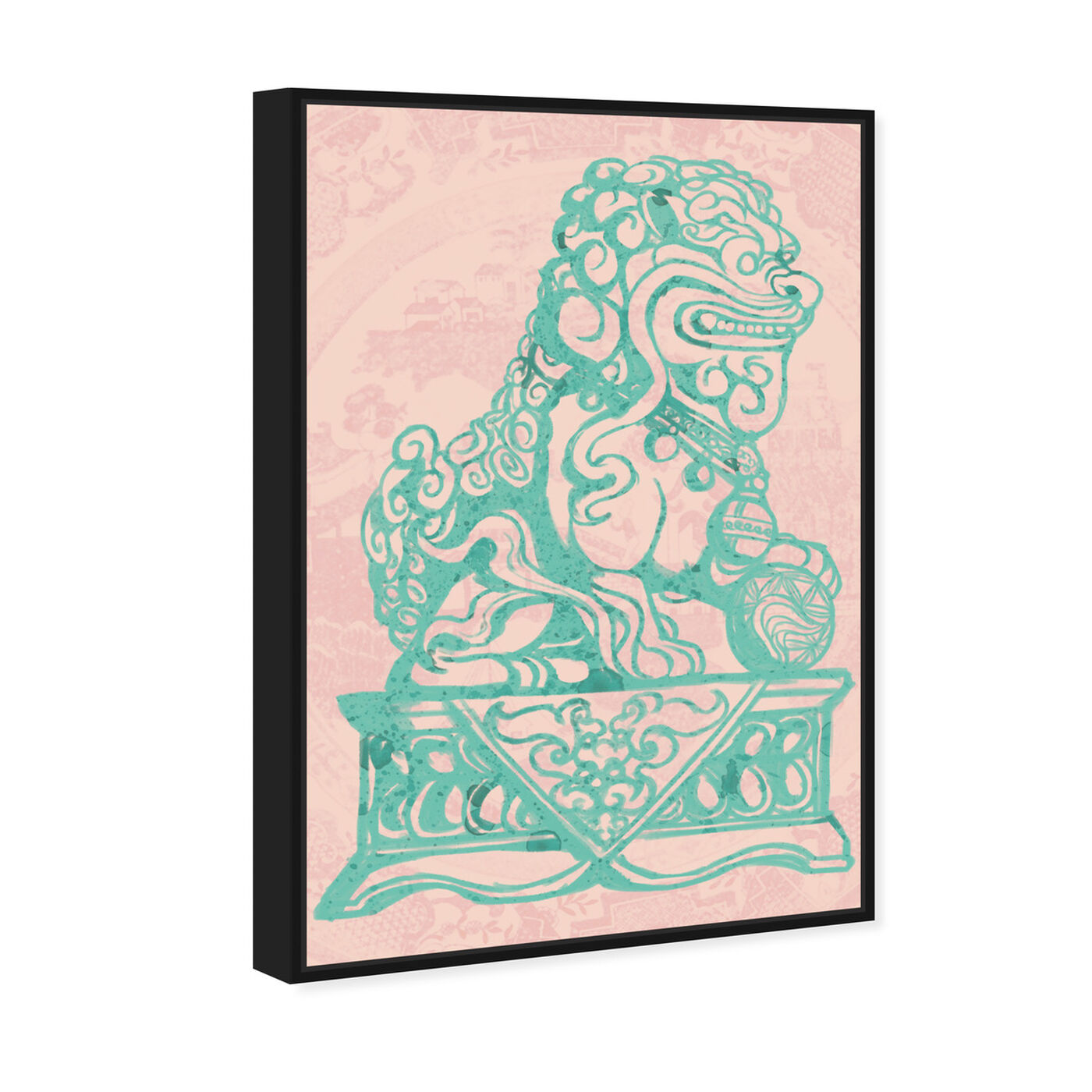 Angled view of Foo Dog Rose featuring world and countries and asian cultures art.