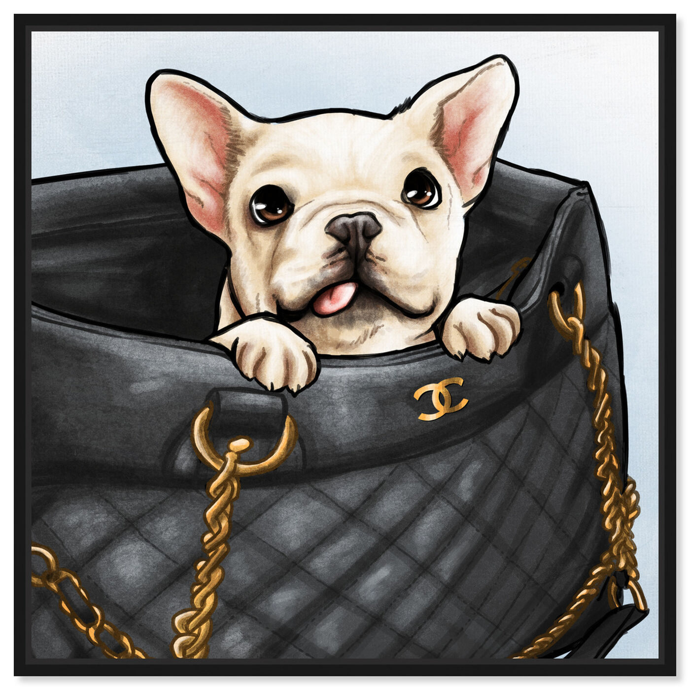 Front view of Peek a Boo Frenchie featuring fashion and glam and handbags art.