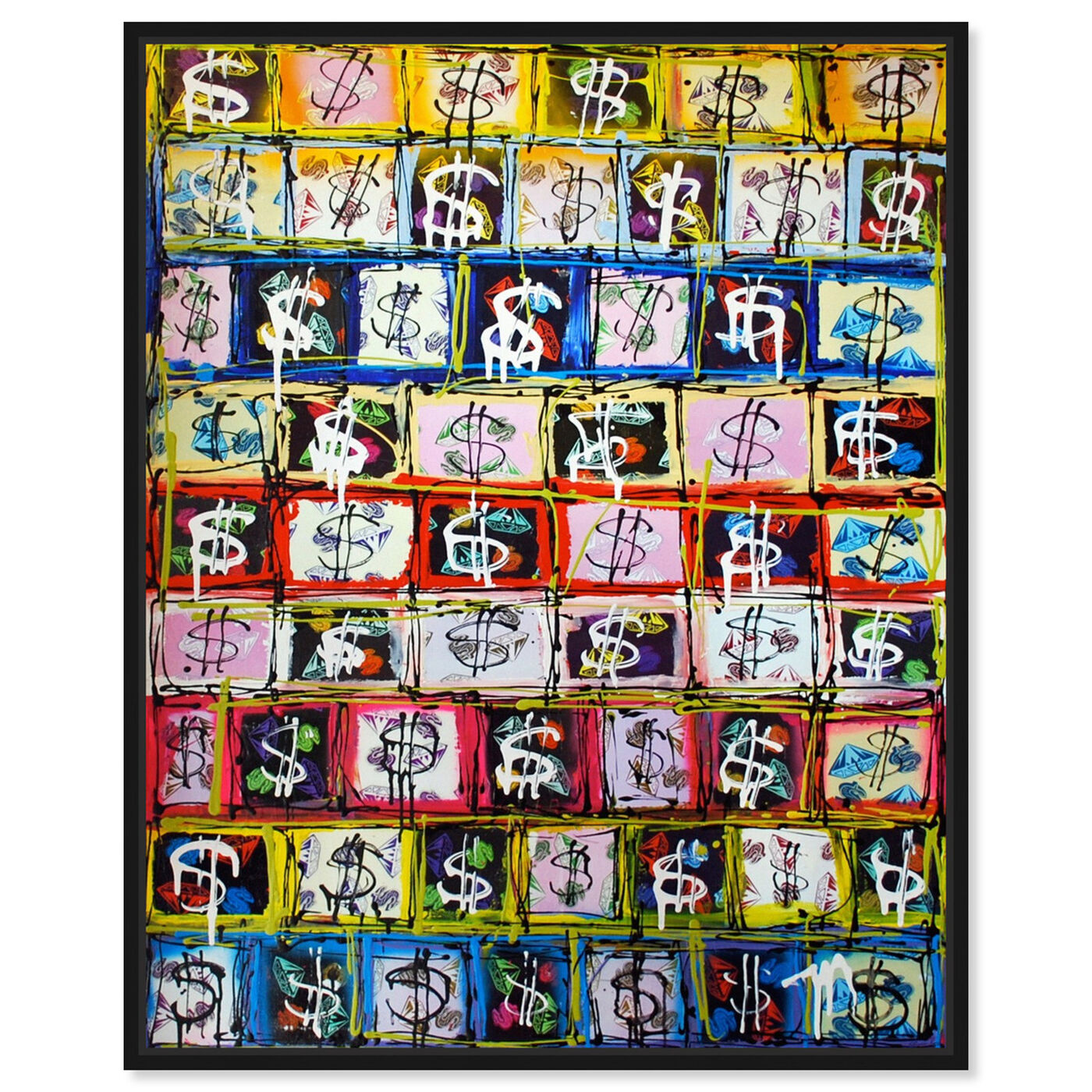 Front view of Money Game by Tiago Magro featuring symbols and objects and symbols art.