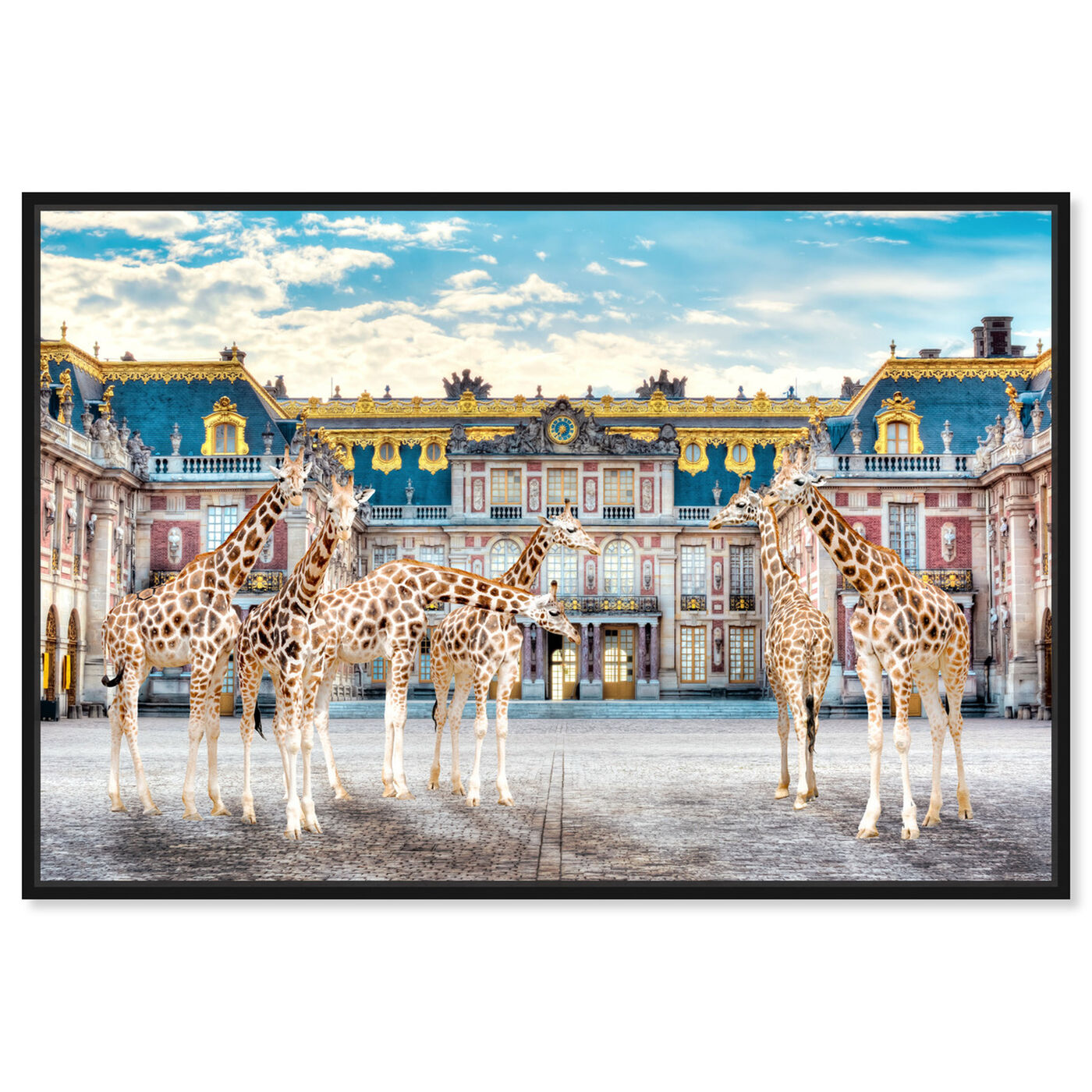 Front view of Giraffe Palace Assembly featuring animals and zoo and wild animals art.