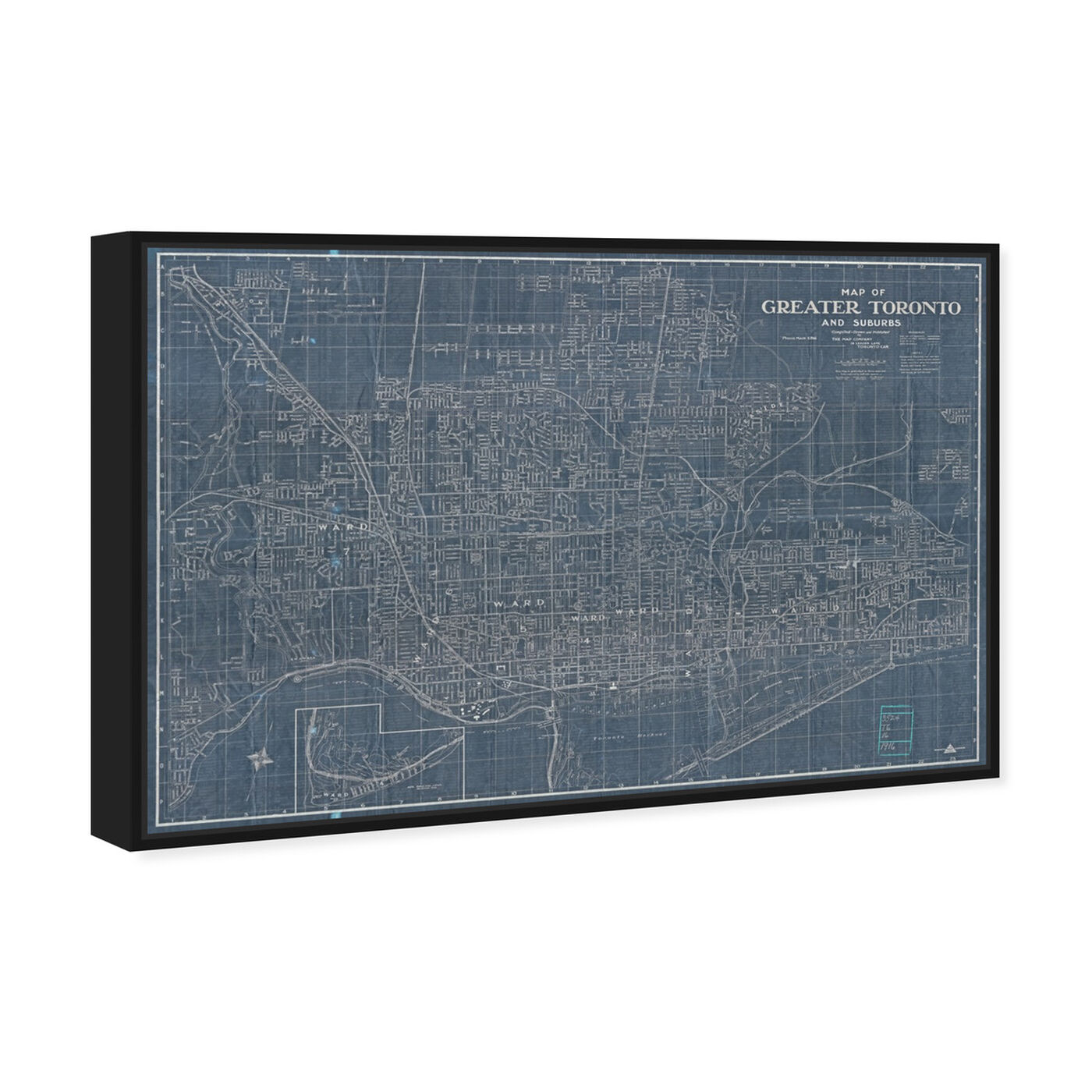 Angled view of Map of greater Toronto and suburbs 1916 featuring maps and flags and american countries maps art.