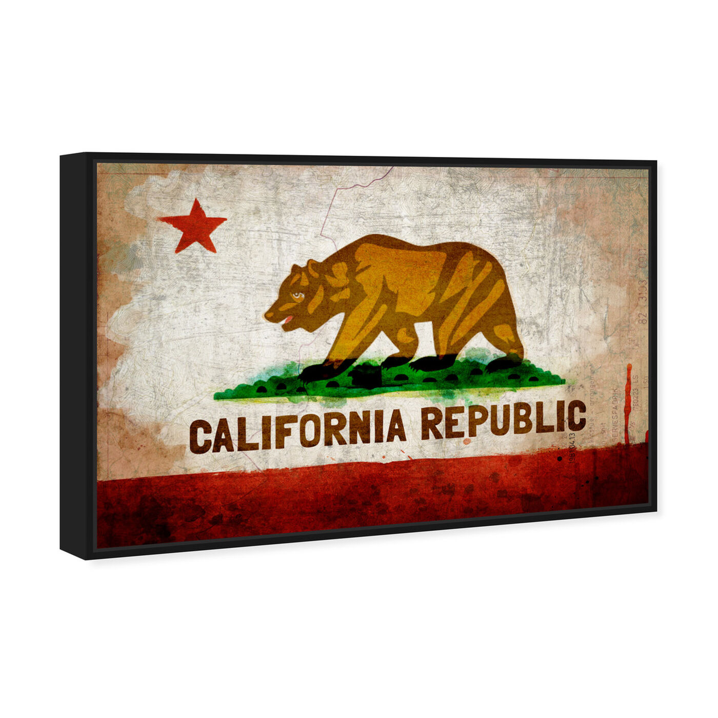 Angled view of California Republic featuring maps and flags and us states flags art.