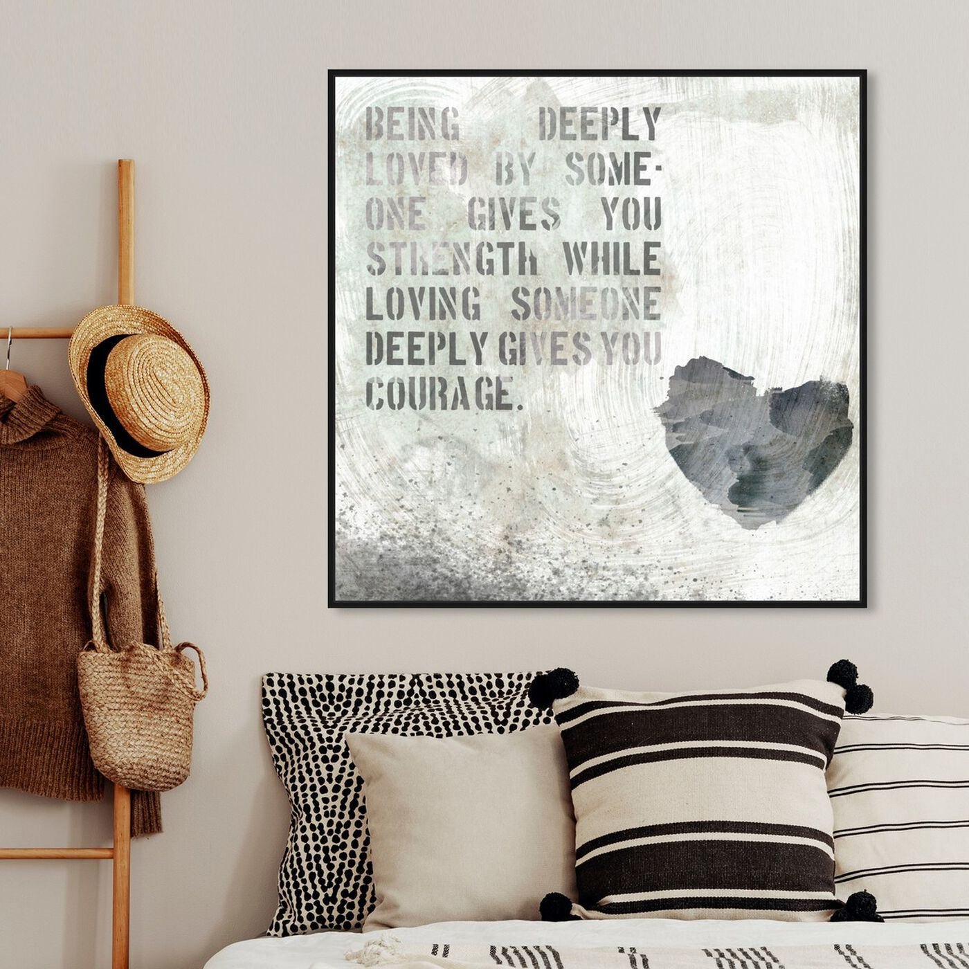 Hanging view of Strength and Courage featuring typography and quotes and love quotes and sayings art.