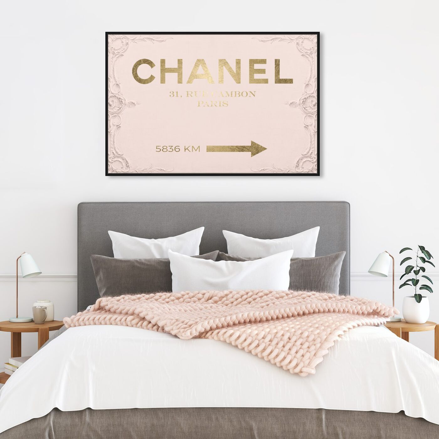 Hanging view of Couture Road Sign Rococo Gold Blush featuring fashion and glam and road signs art.