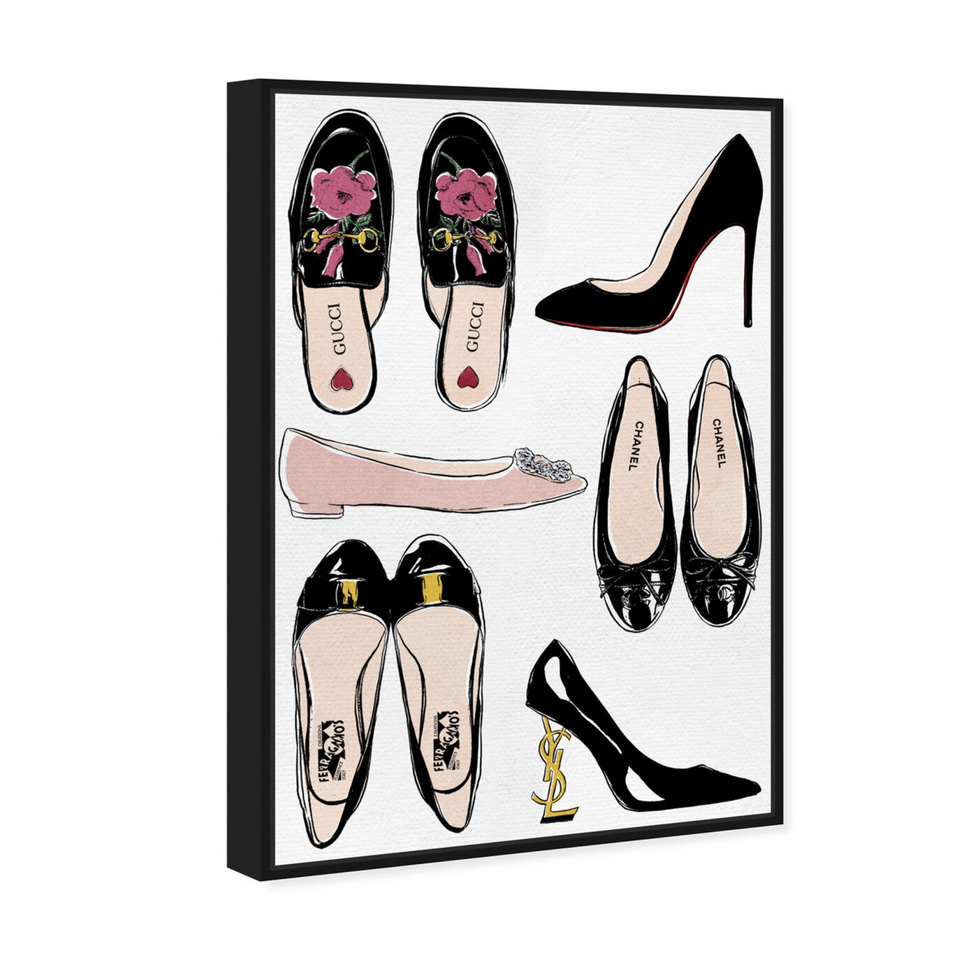 Angled view of My Luxe Shoe Collection featuring fashion and glam and shoes art.