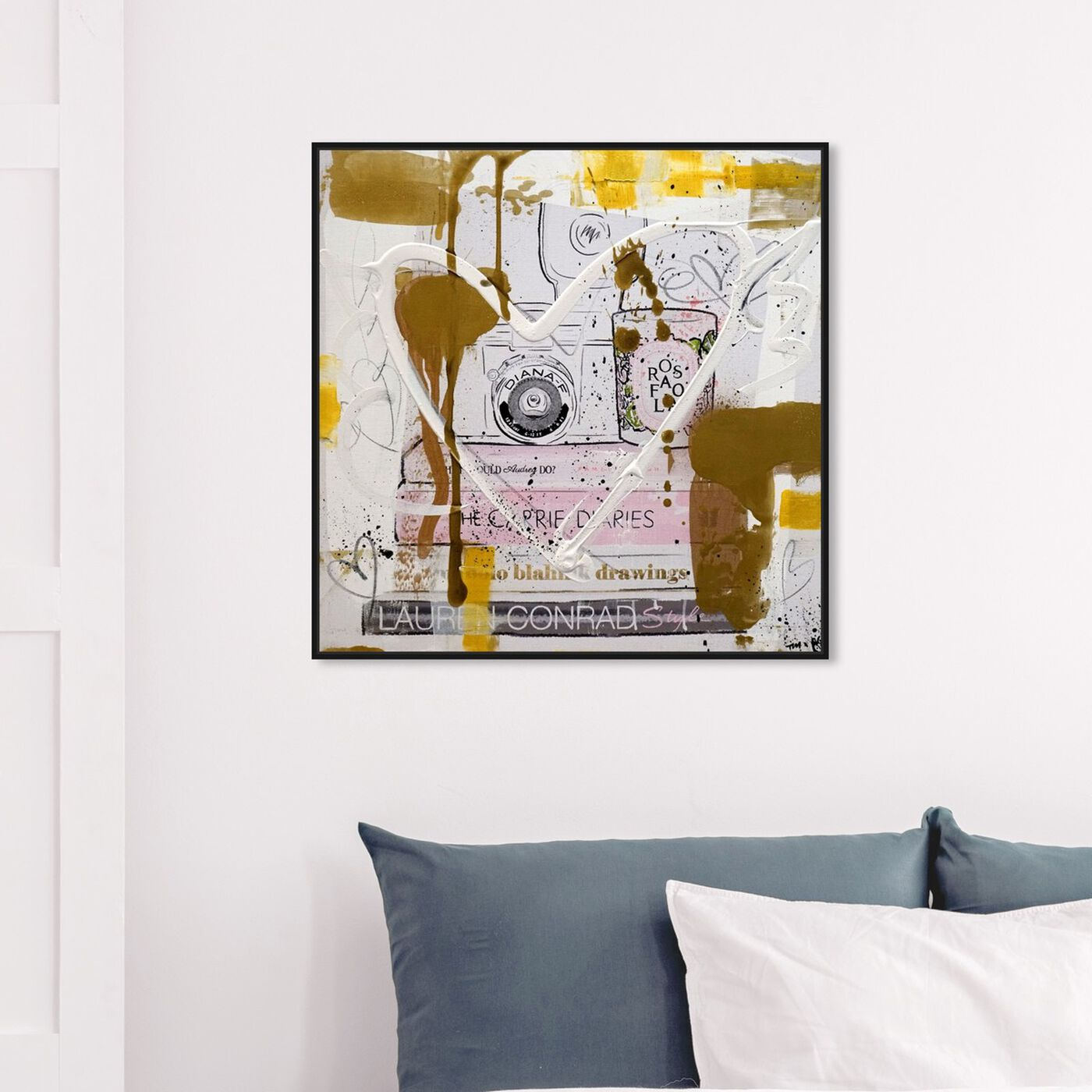 Hanging view of Vintage Cameras and Fashion Remix featuring fashion and glam and books art.