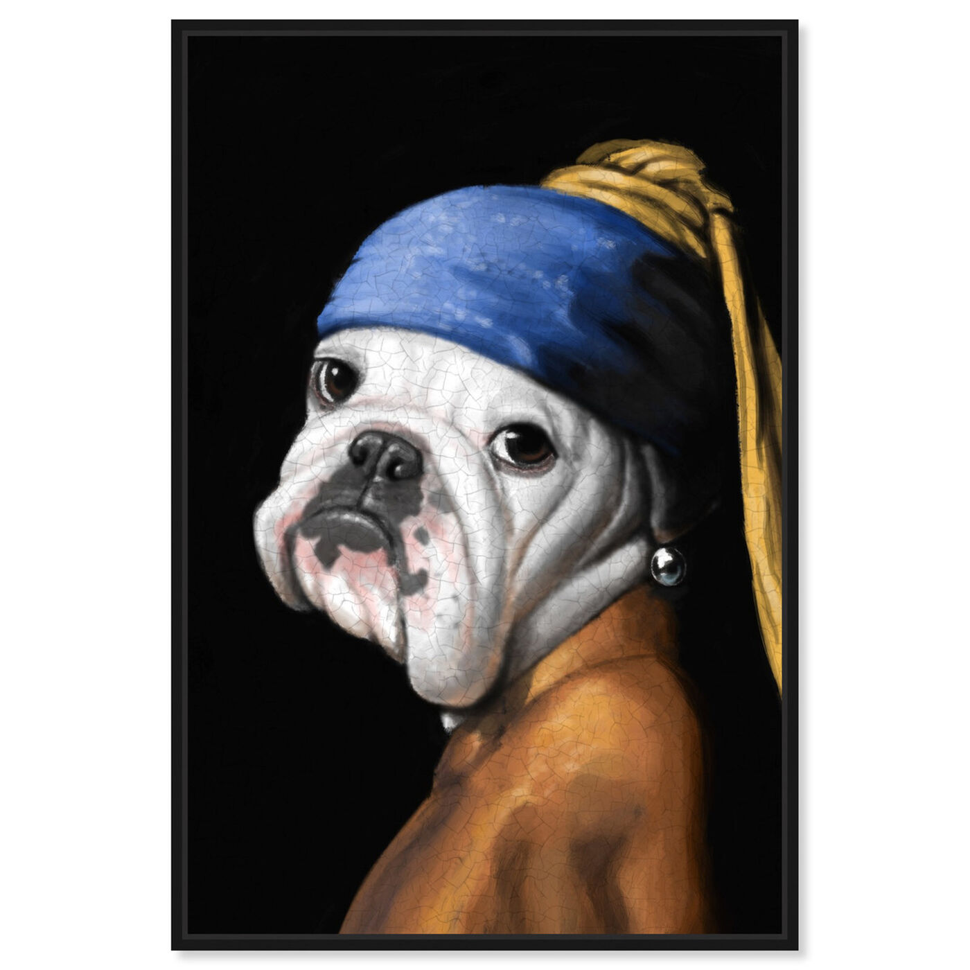 Front view of Dog With the Pearl Earring featuring classic and figurative and classic art.