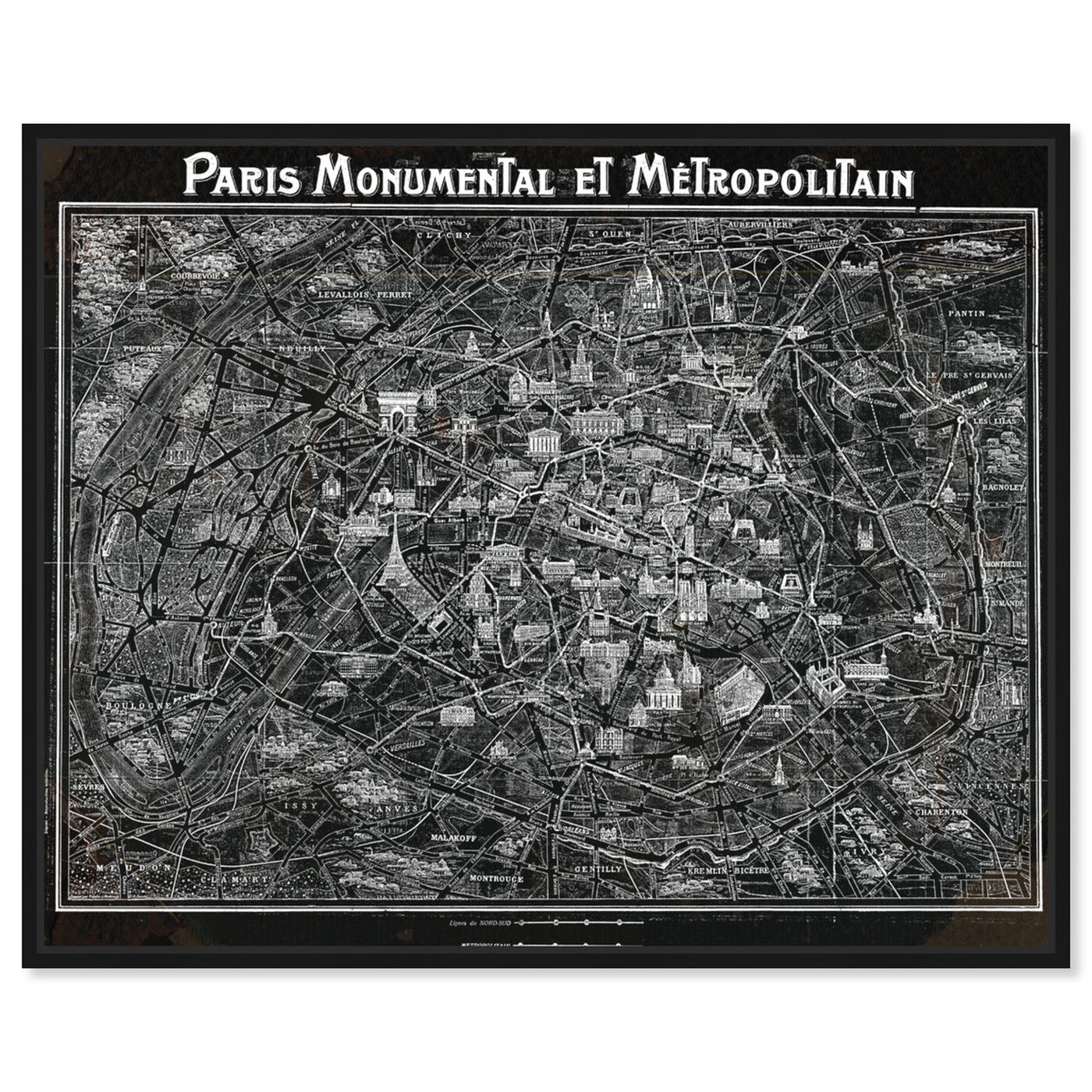 Front view of Paris Metropolitain Map 1920 featuring maps and flags and european cities flags art.