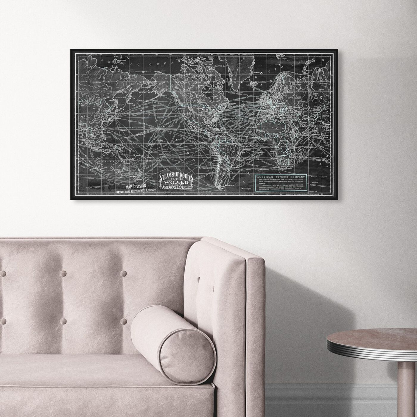 Hanging view of Steamship Routes of the World featuring maps and flags and world maps art.