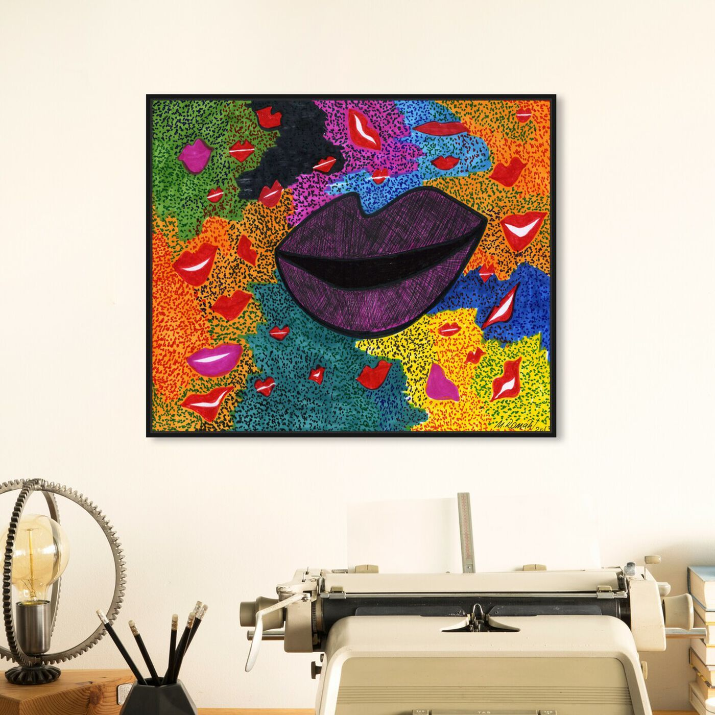 Hanging view of Laughter featuring fashion and glam and lips art.