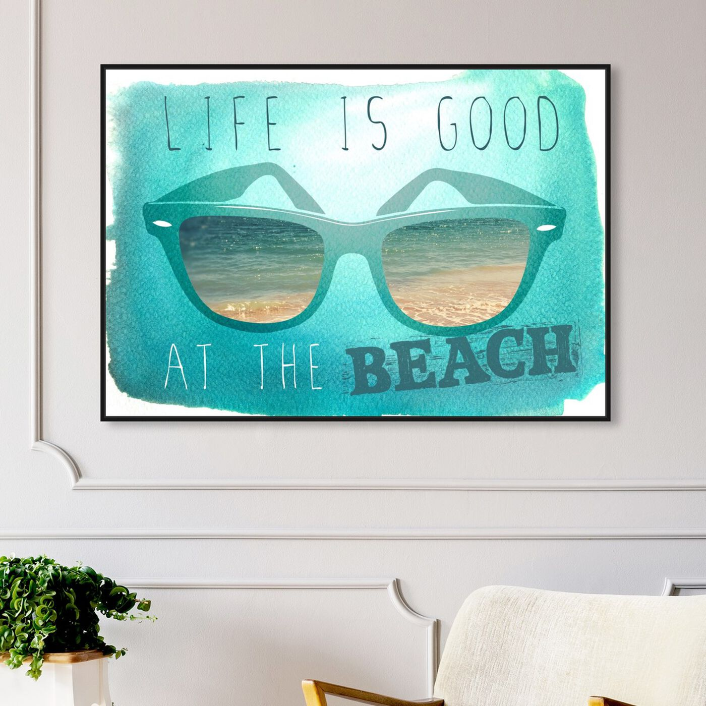 Hanging view of At The Beach featuring typography and quotes and quotes and sayings art.