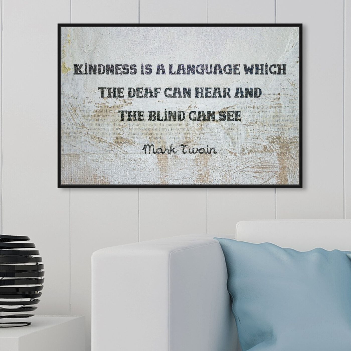 Hanging view of Kindness is a Language featuring typography and quotes and inspirational quotes and sayings art.