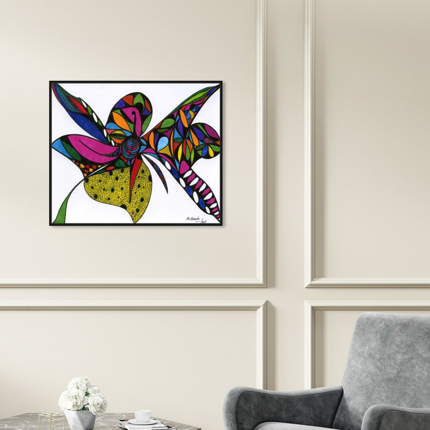 Hanging view of Wild Orchid featuring abstract and shapes art.