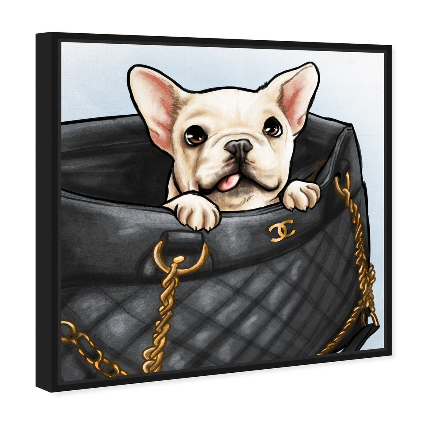 Angled view of Peek a Boo Frenchie featuring fashion and glam and handbags art.