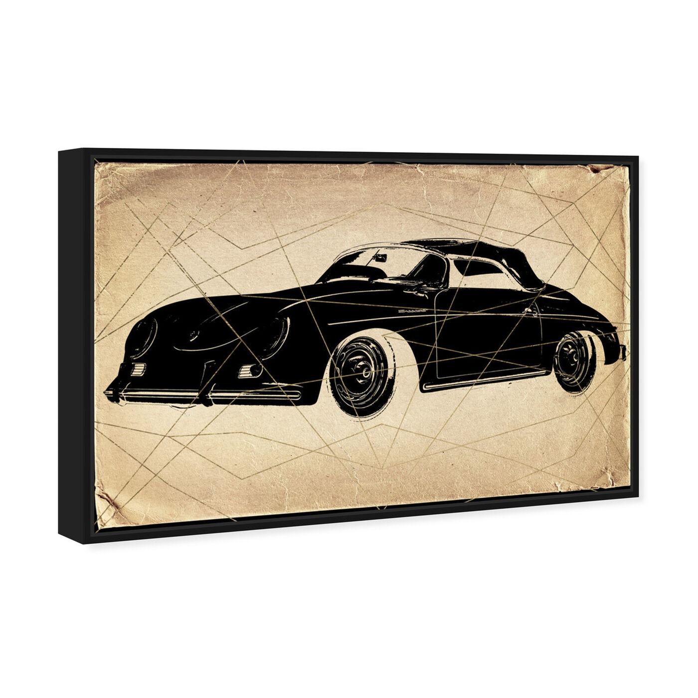 Angled view of Porsche Print featuring transportation and automobiles art.