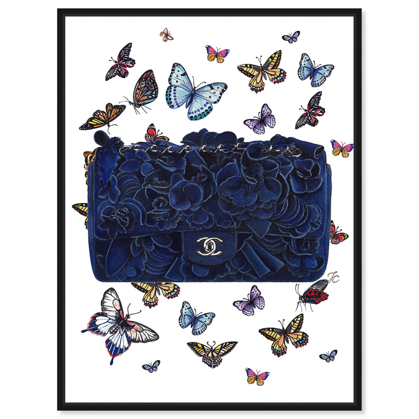 Front view of Doll Memories - Butterflies Blue Bag featuring fashion and glam and handbags art.