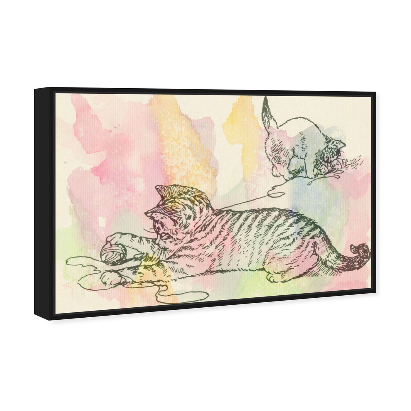 Angled view of Kittens Love to Play featuring animals and cats and kitties art.