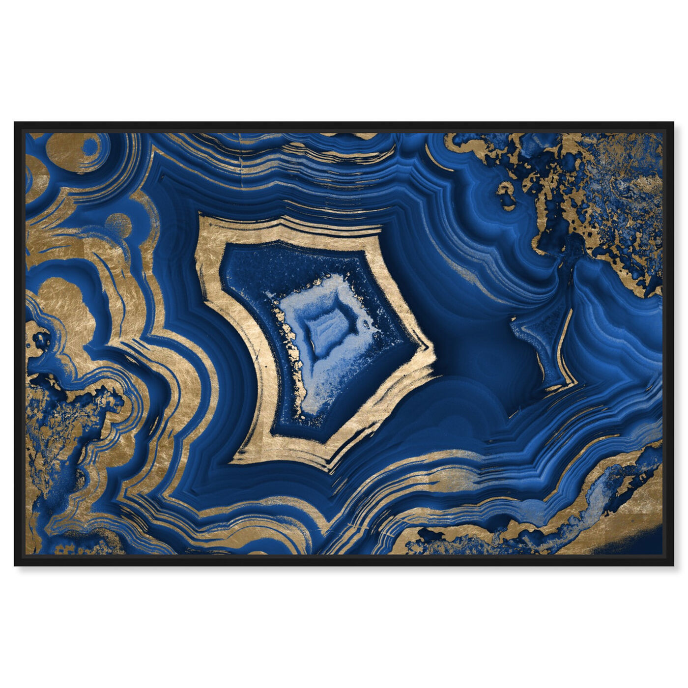 Front view of Blue Geode featuring abstract and crystals art.