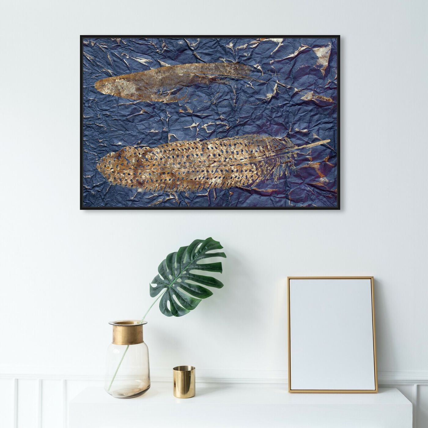 Hanging view of Guinea Blue - Signature Collection featuring fashion and glam and feathers art.