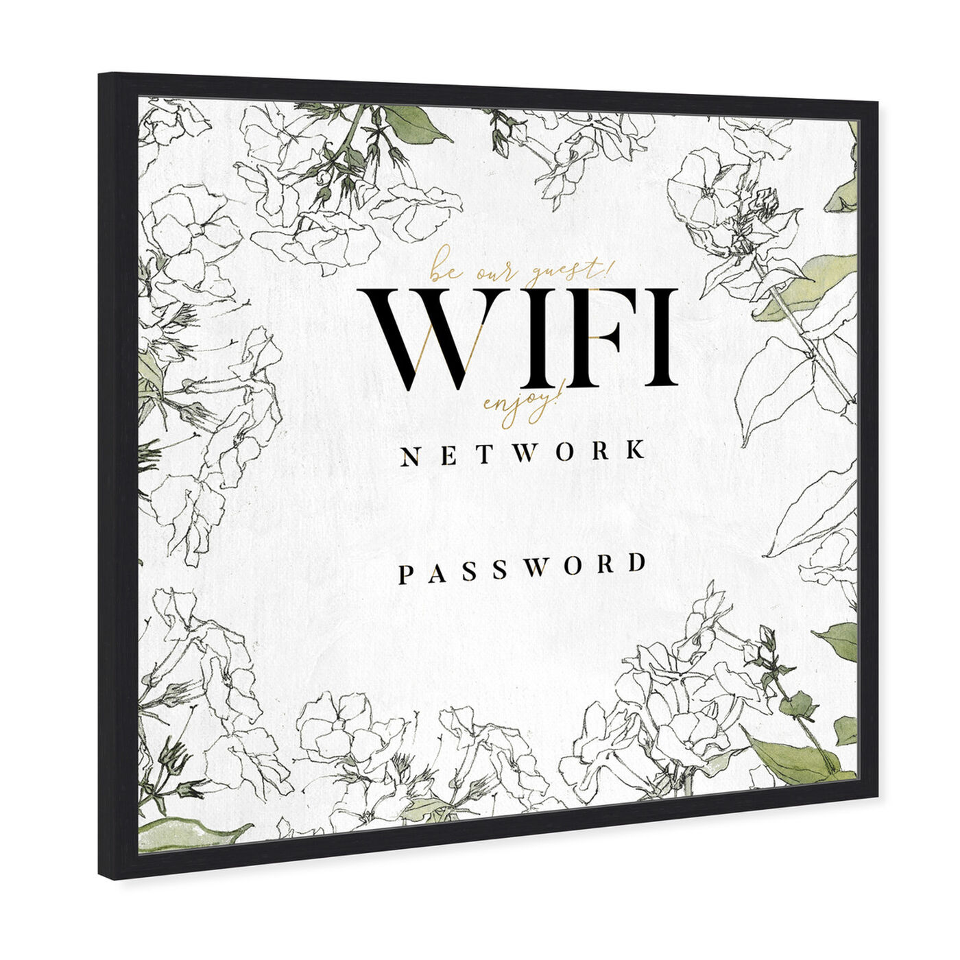 Angled view of Wifi Password Floral Sketches art.