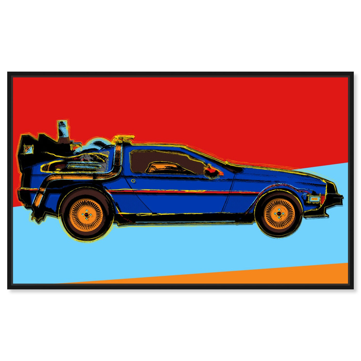 Front view of Warhol style Delorean featuring transportation and automobiles art.