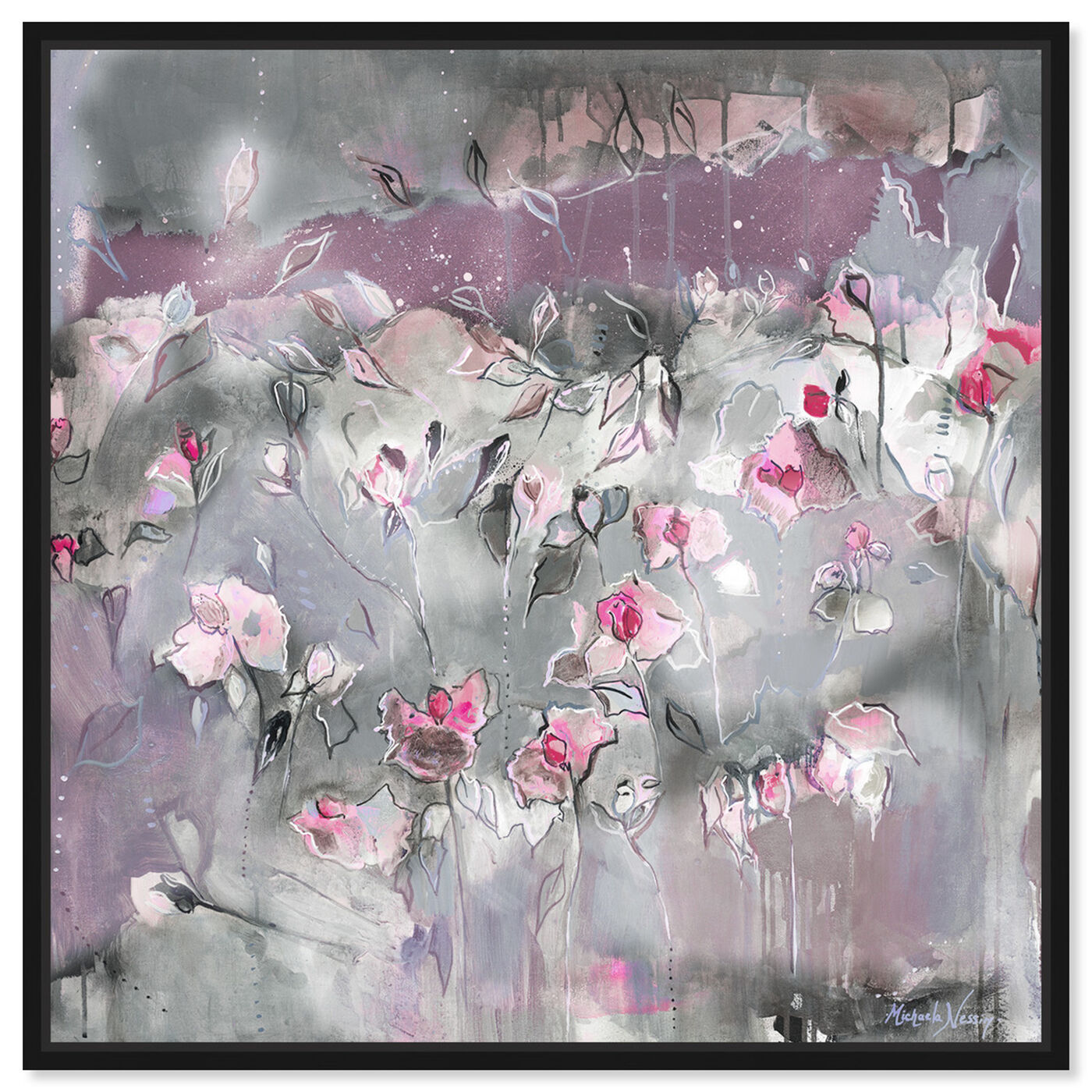 Front view of Subtle Radiance Light by Michaela Nessim featuring abstract and flowers art.