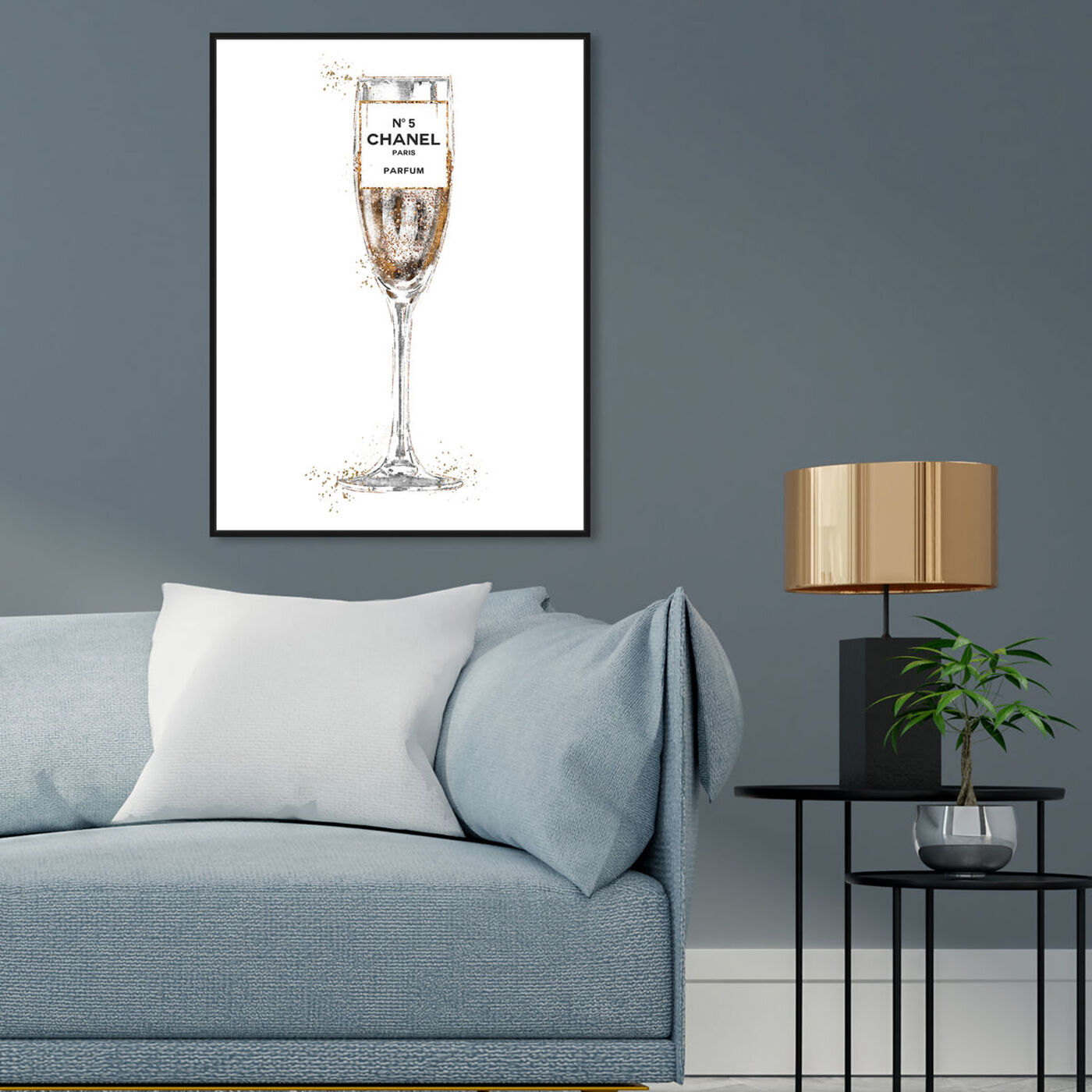 Hanging view of Glam Bubbly Champagne Perfume White featuring fashion and glam and lifestyle art.