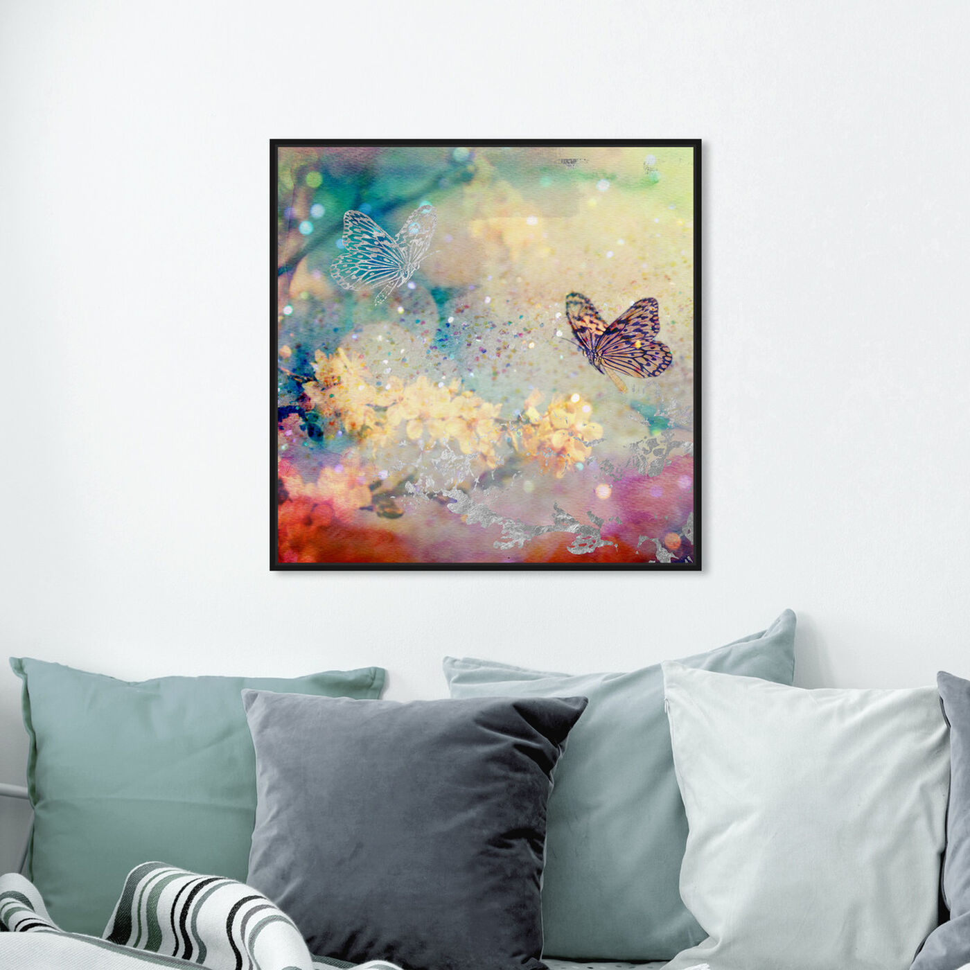 Hanging view of Butterfly Dance featuring floral and botanical and gardens art.