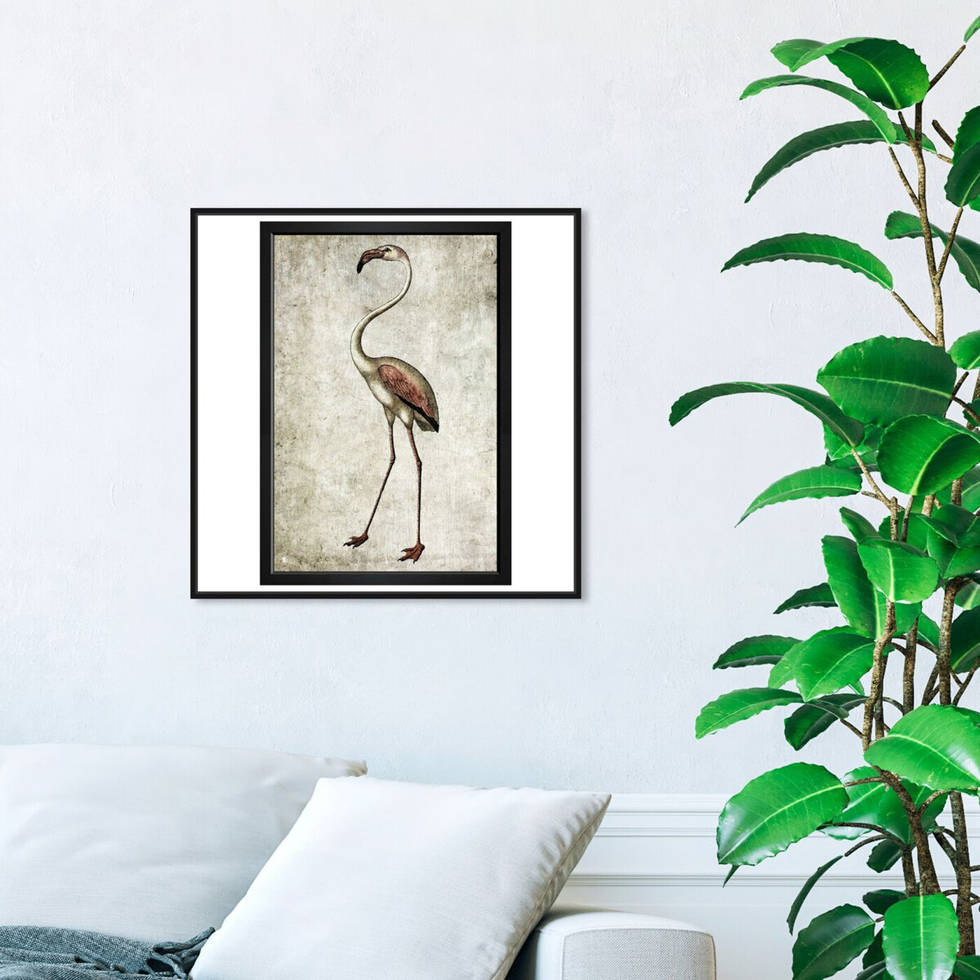 Hanging view of Vintage Flamingo featuring animals and birds art.