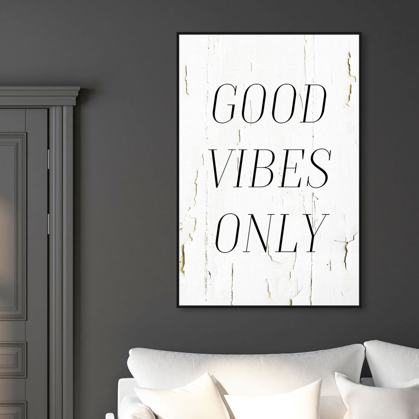 Hanging view of The Good Vibes Only featuring typography and quotes and inspirational quotes and sayings art.