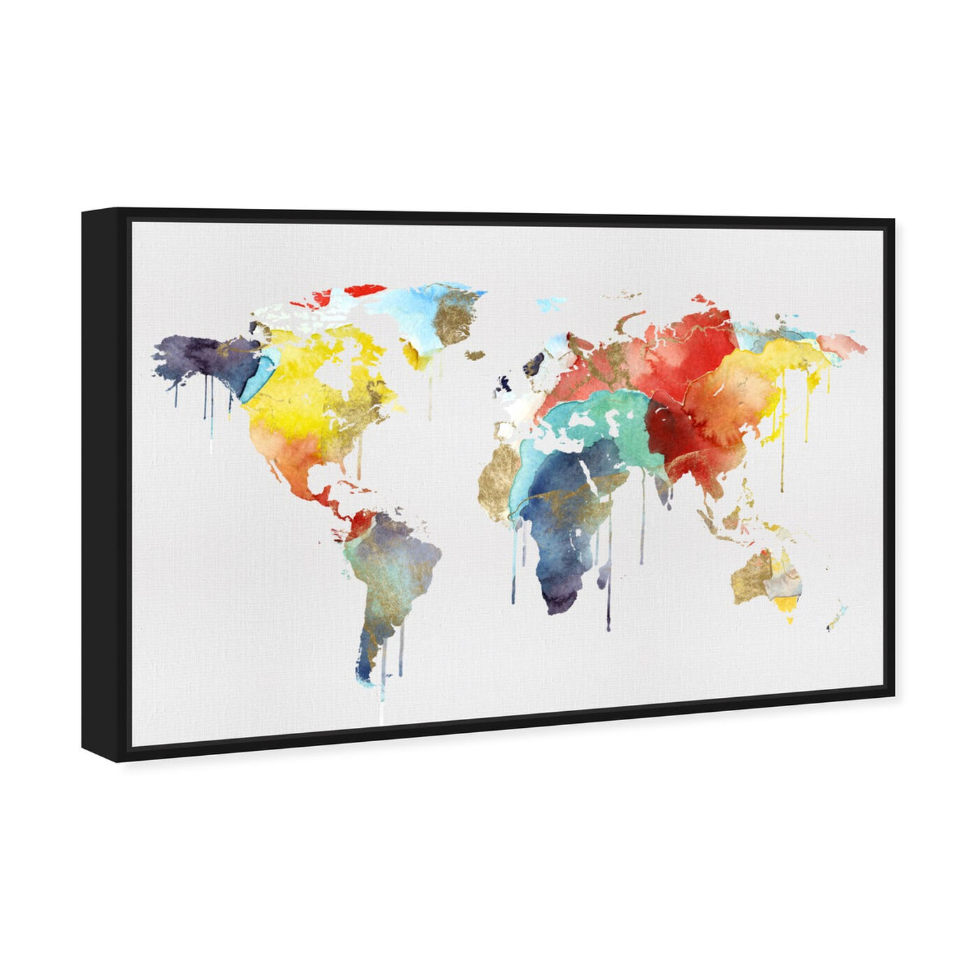 Angled view of Mapamundi Watercolor featuring maps and flags and world maps art.