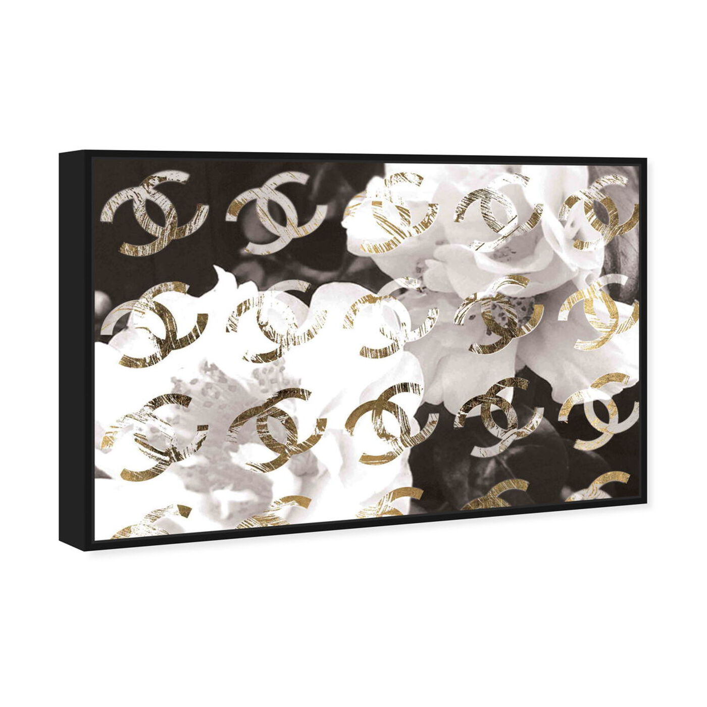 Angled view of Original Gold Camellia Distressed featuring floral and botanical and florals art.