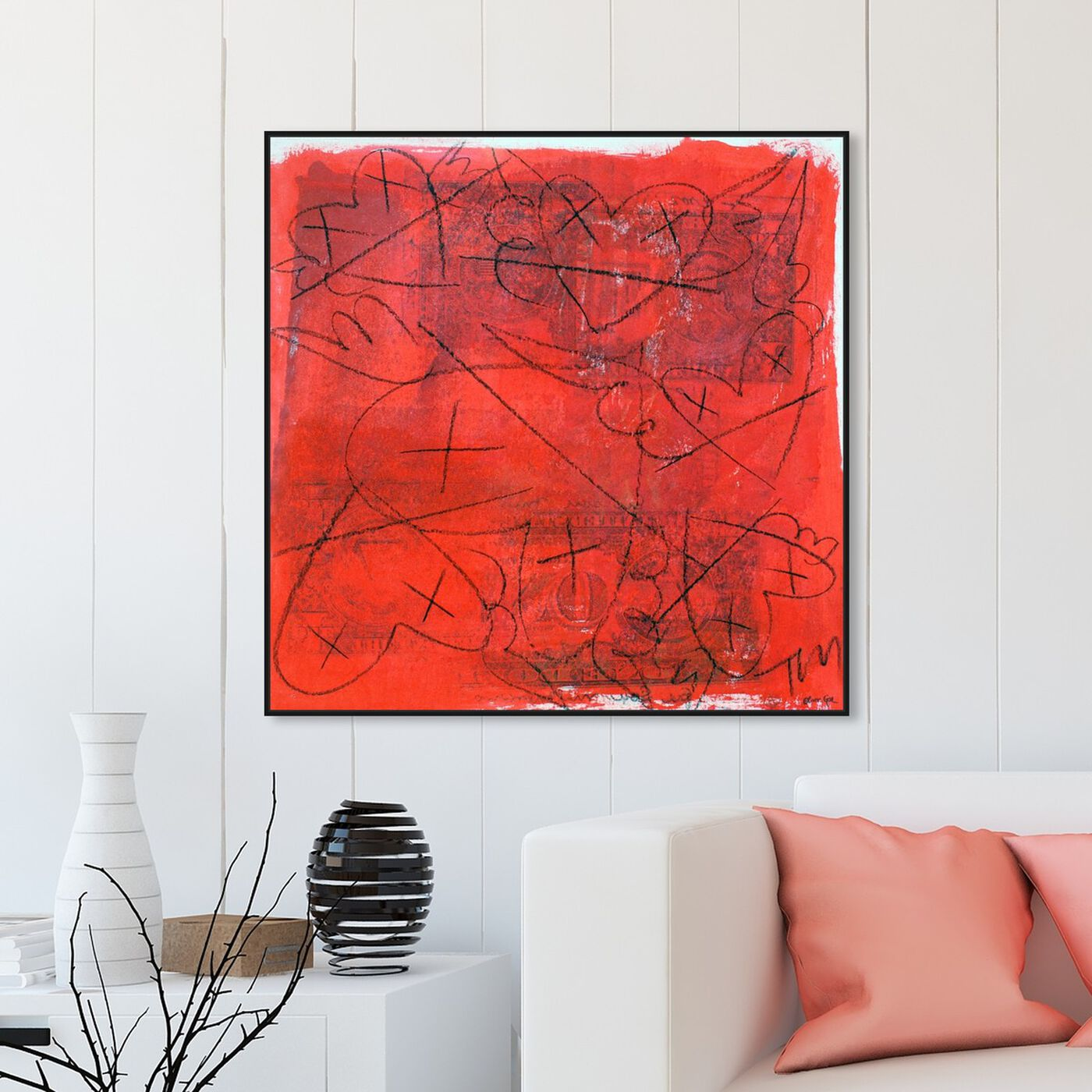 Hanging view of HeartFIVEONE by Tiago Magro featuring abstract and shapes art.