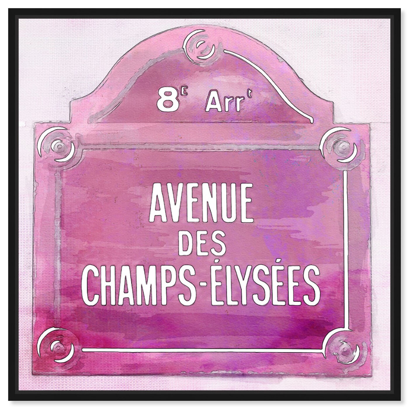 Front view of Avenue Des Champs Elysees Pink featuring cities and skylines and european cities art.