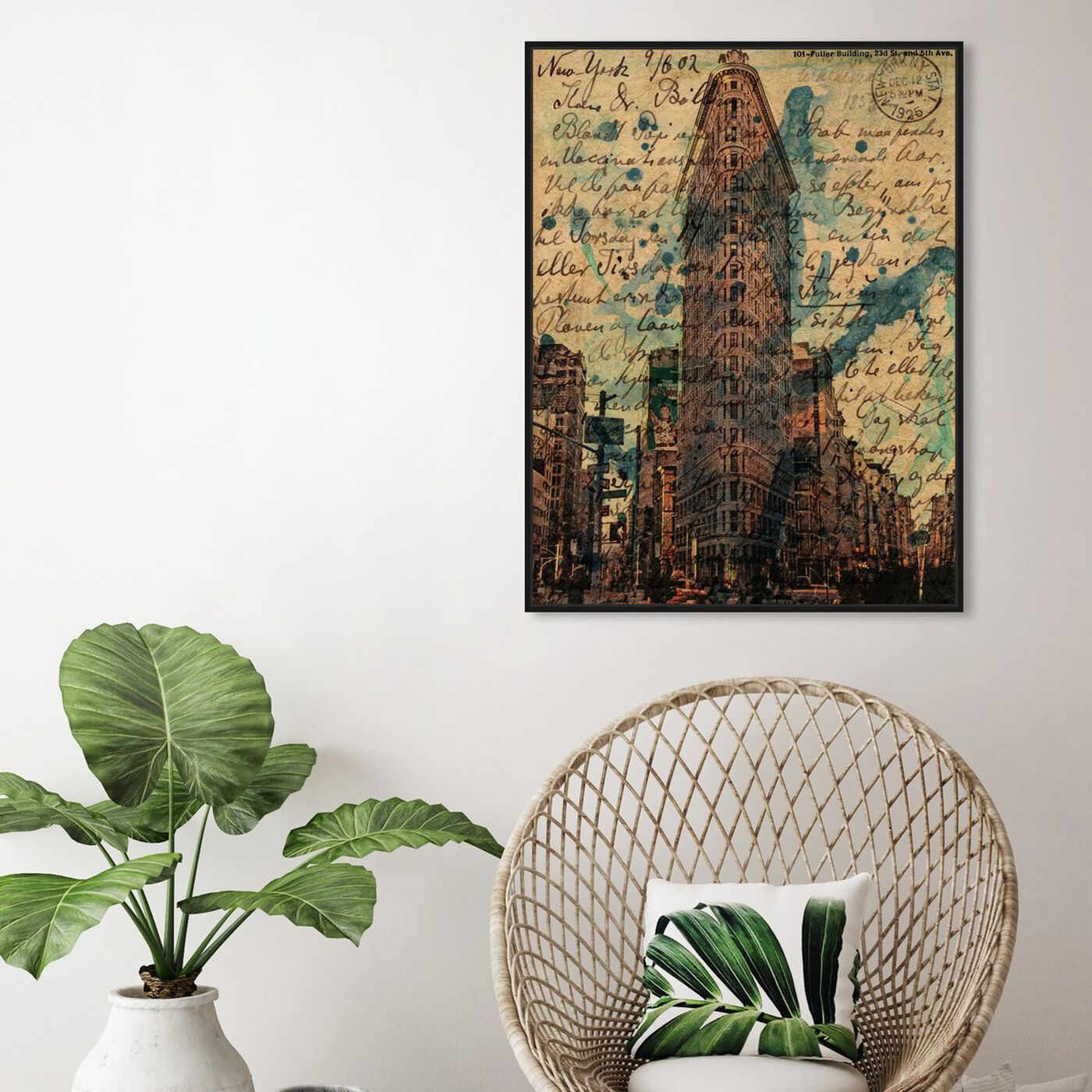 Hanging view of Flat Iron featuring architecture and buildings and united states buildings art.