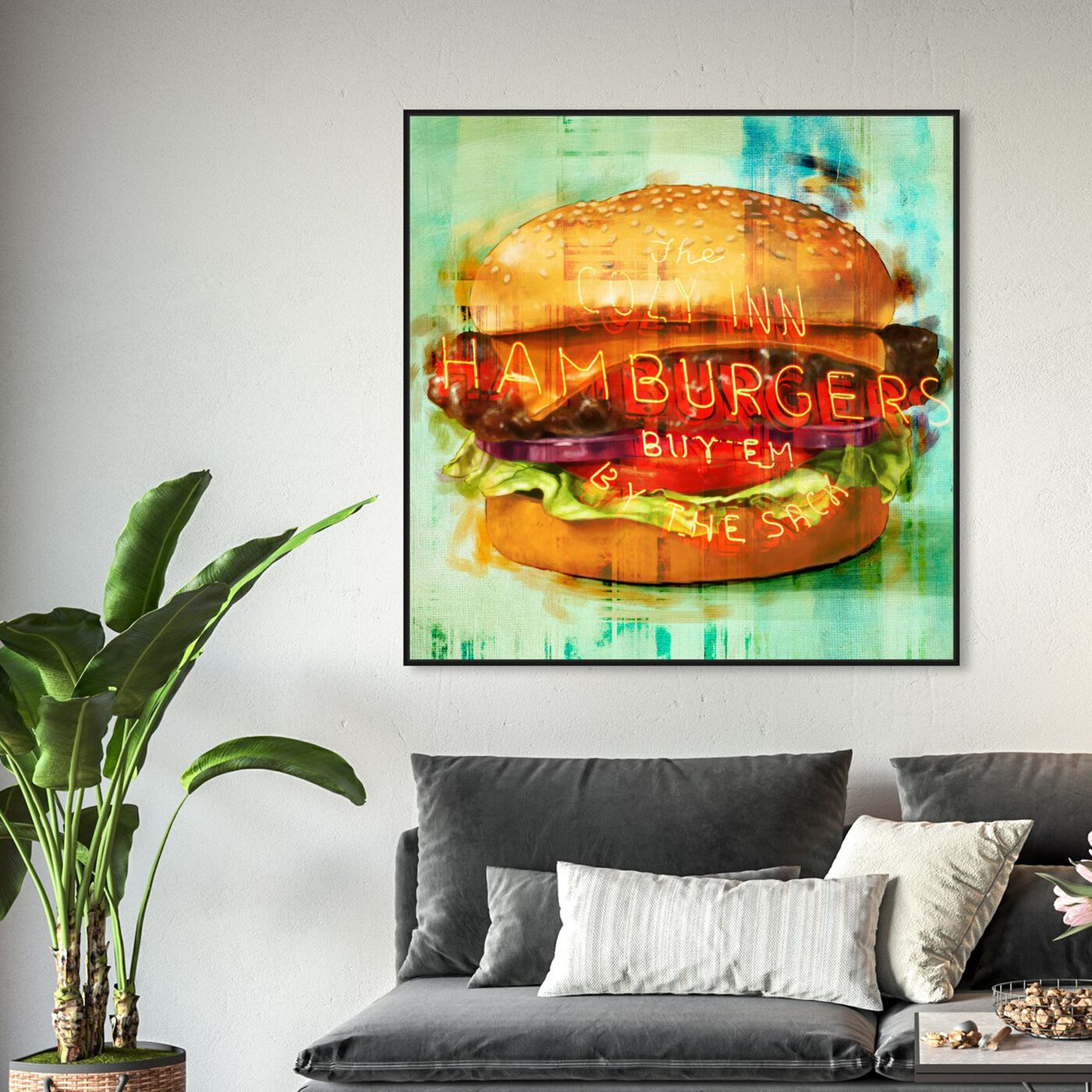Hanging view of Cozy Hamburgers featuring food and cuisine and fast food art.