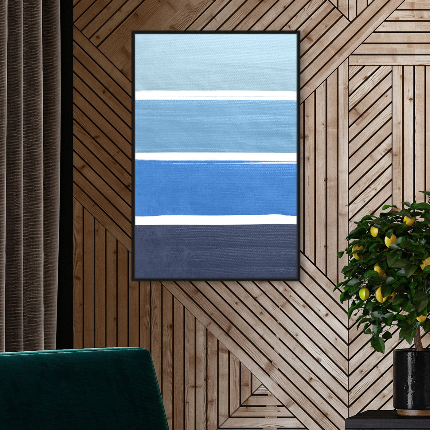 Hanging view of The Right Shade of Blue featuring abstract and geometric art.