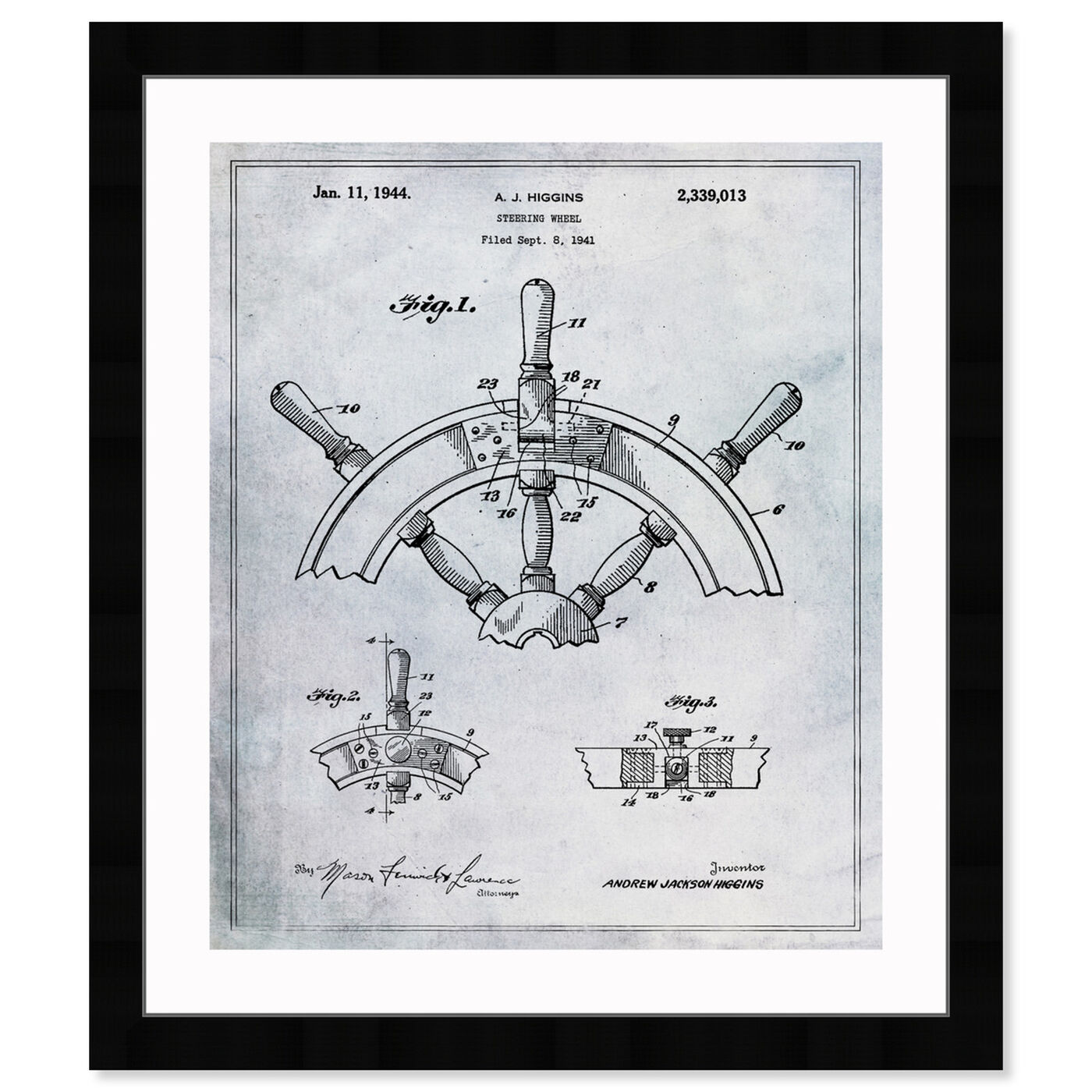 Front view of Steering Wheel 1944 featuring nautical and coastal and nautical terms art.