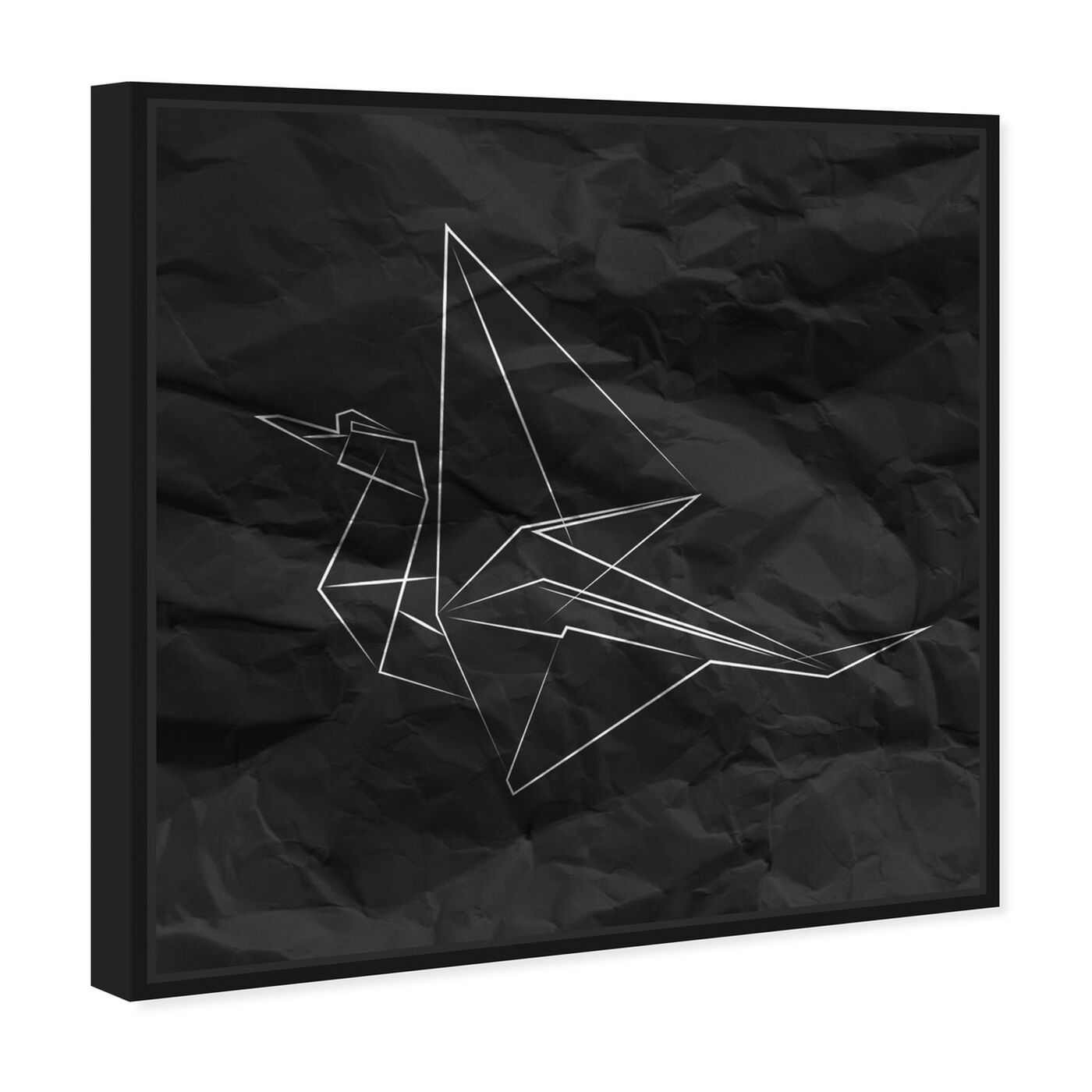 Angled view of Origami Crane featuring abstract and geometric art.
