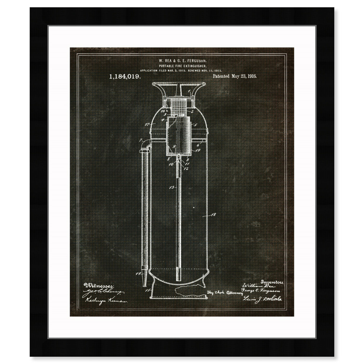 Front view of Portable Fire Extinguisher 1916 featuring symbols and objects and shapes art.