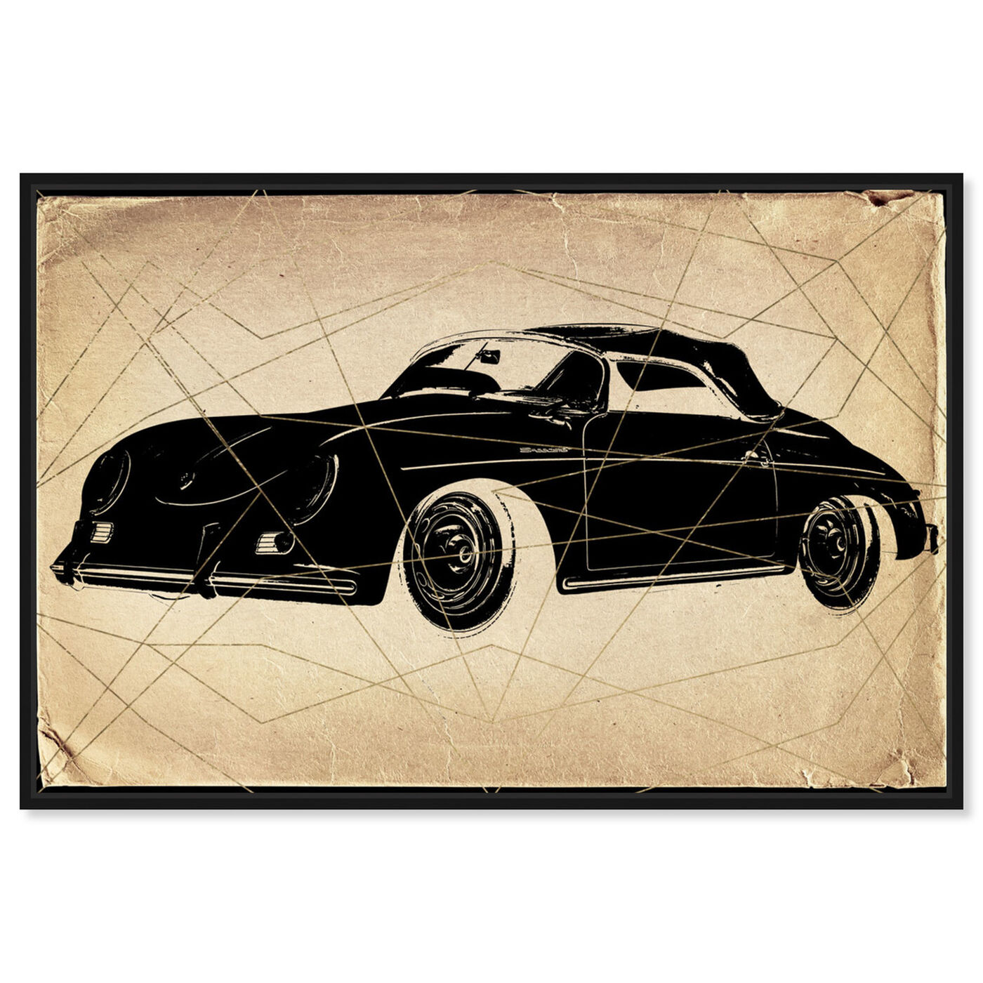 Front view of Porsche Print featuring transportation and automobiles art.