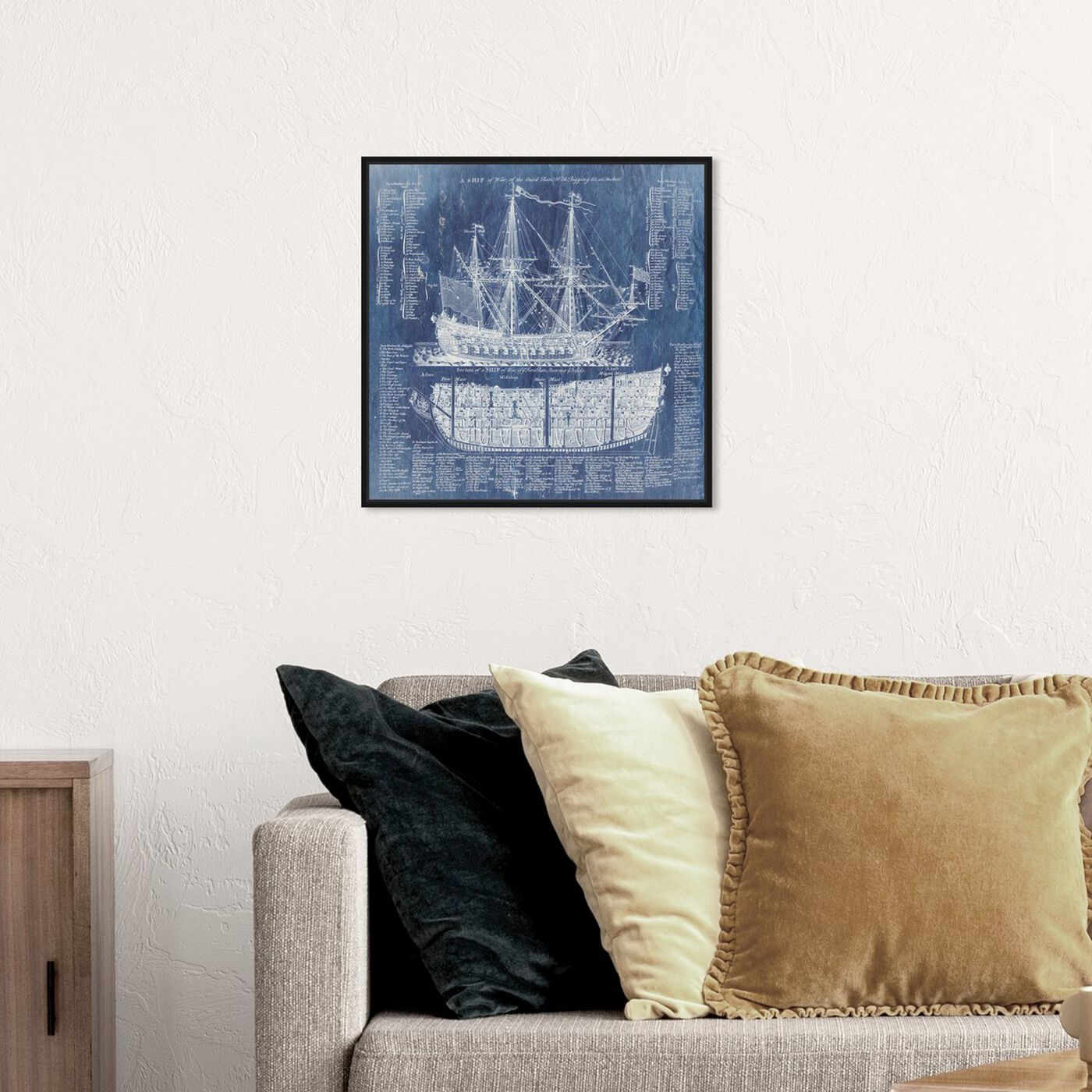 Hanging view of Ship Vocabulary and Terms featuring nautical and coastal and nautical watercrafts art.