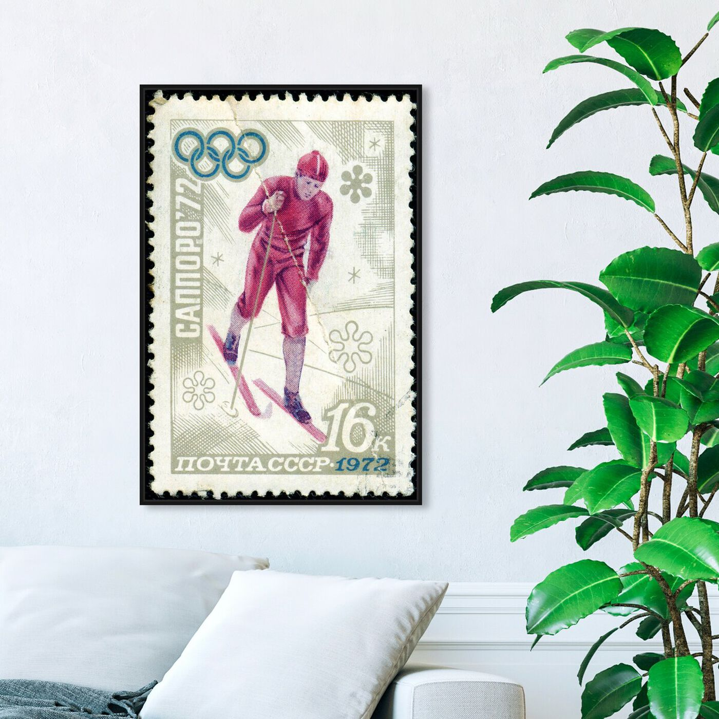 Hanging view of Winter of 1972 featuring sports and teams and skiing art.