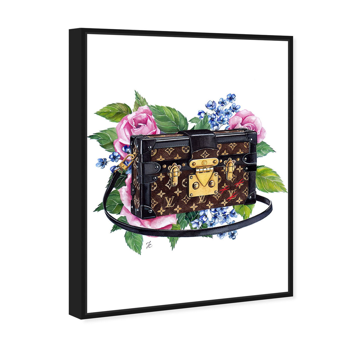 Angled view of Doll Memories - Floral Trunk featuring fashion and glam and handbags art.