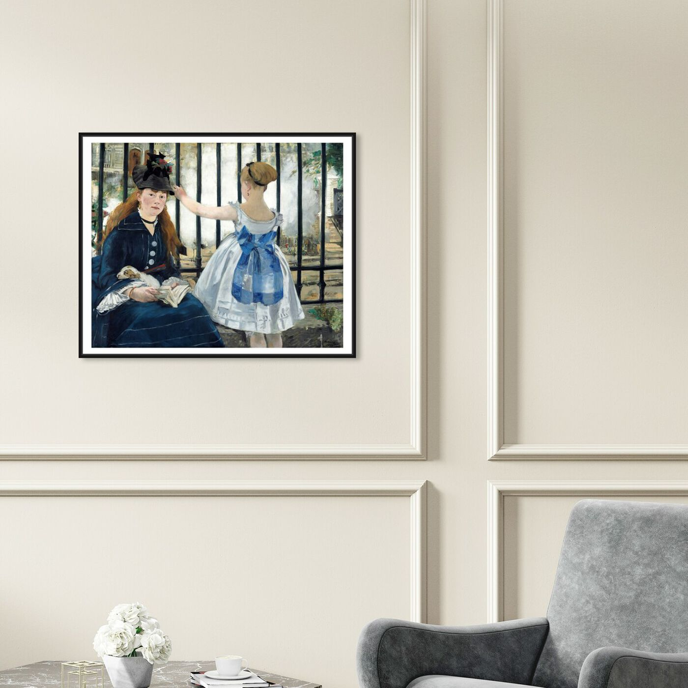 Hanging view of Manet - Le Chemin De Fer featuring classic and figurative and classical figures art.