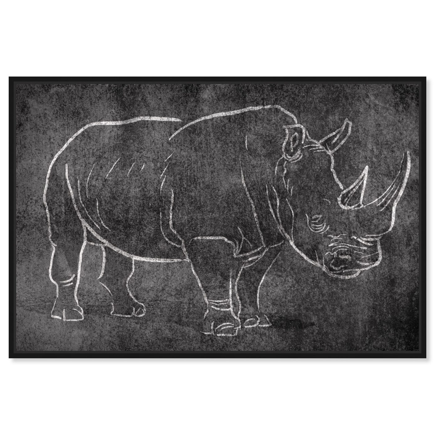 Front view of Chalk Rhino featuring animals and zoo and wild animals art.